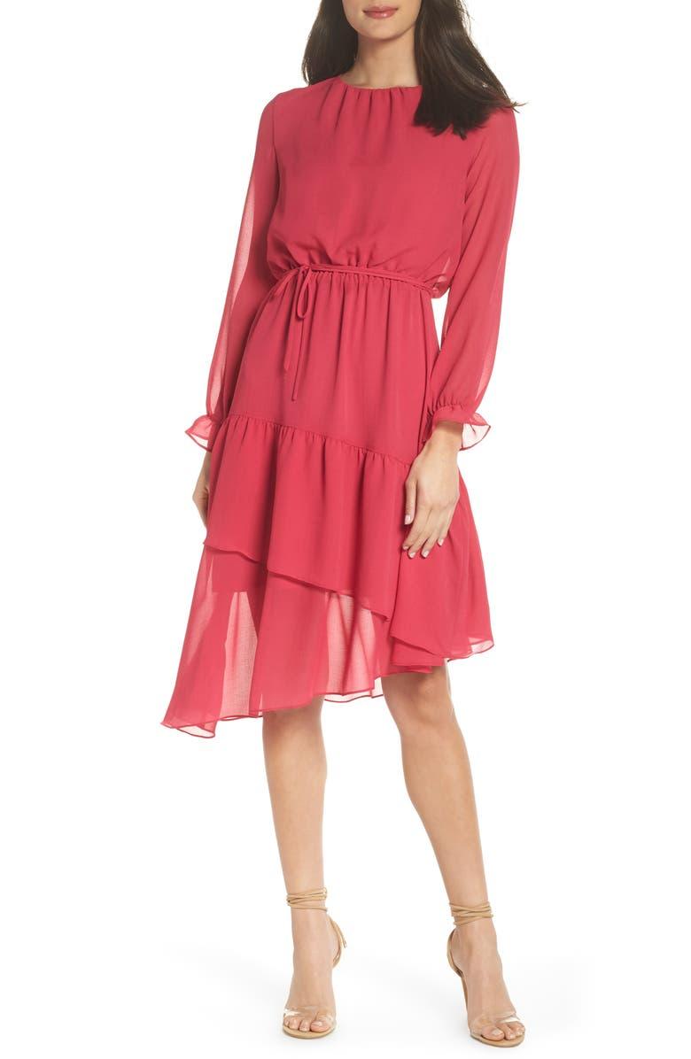 9c840db8eebd9 NSR Hadley Asymmetric Chiffon Dress