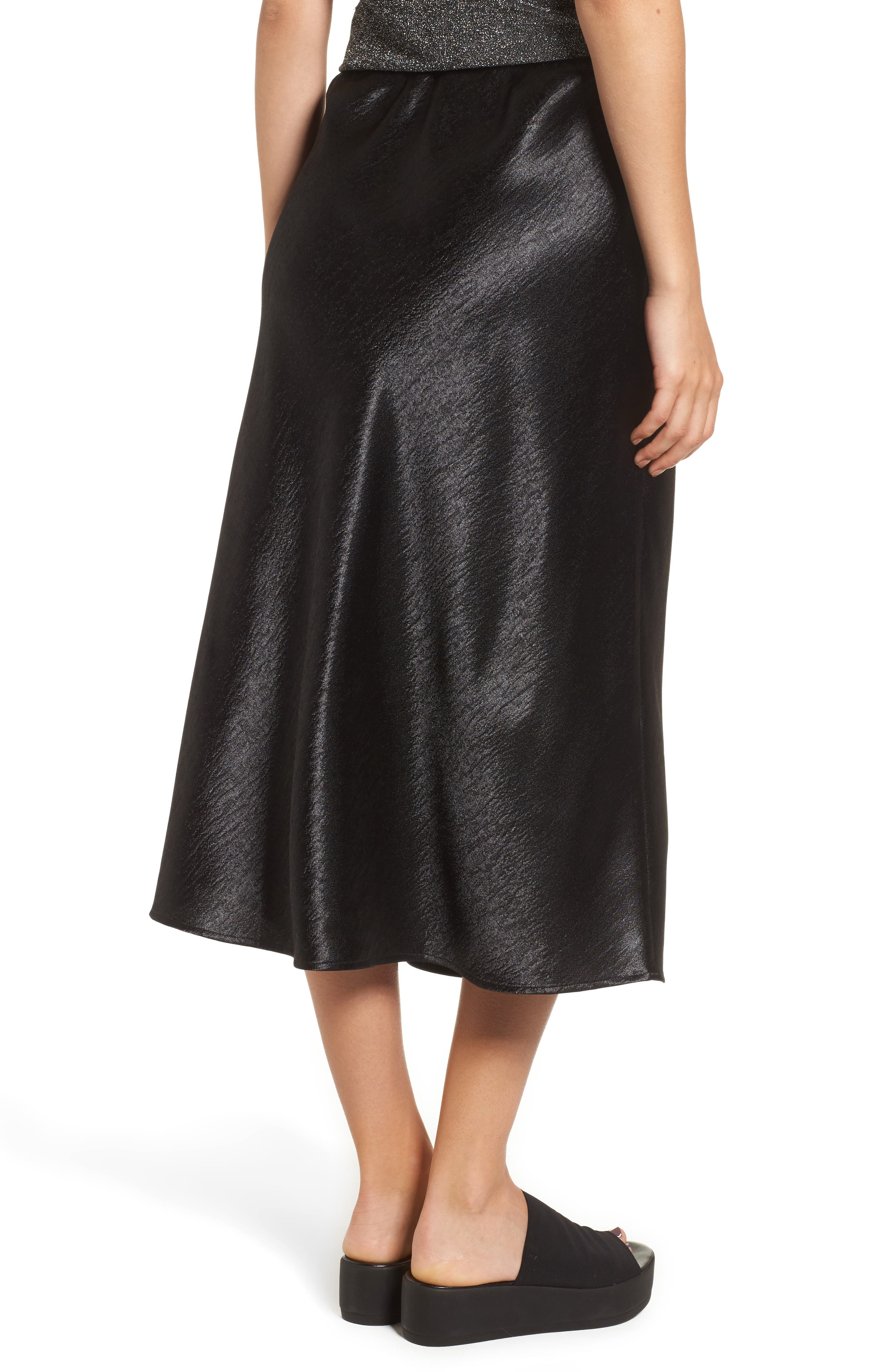 Satin Midi Skirt,                             Alternate thumbnail 3, color,