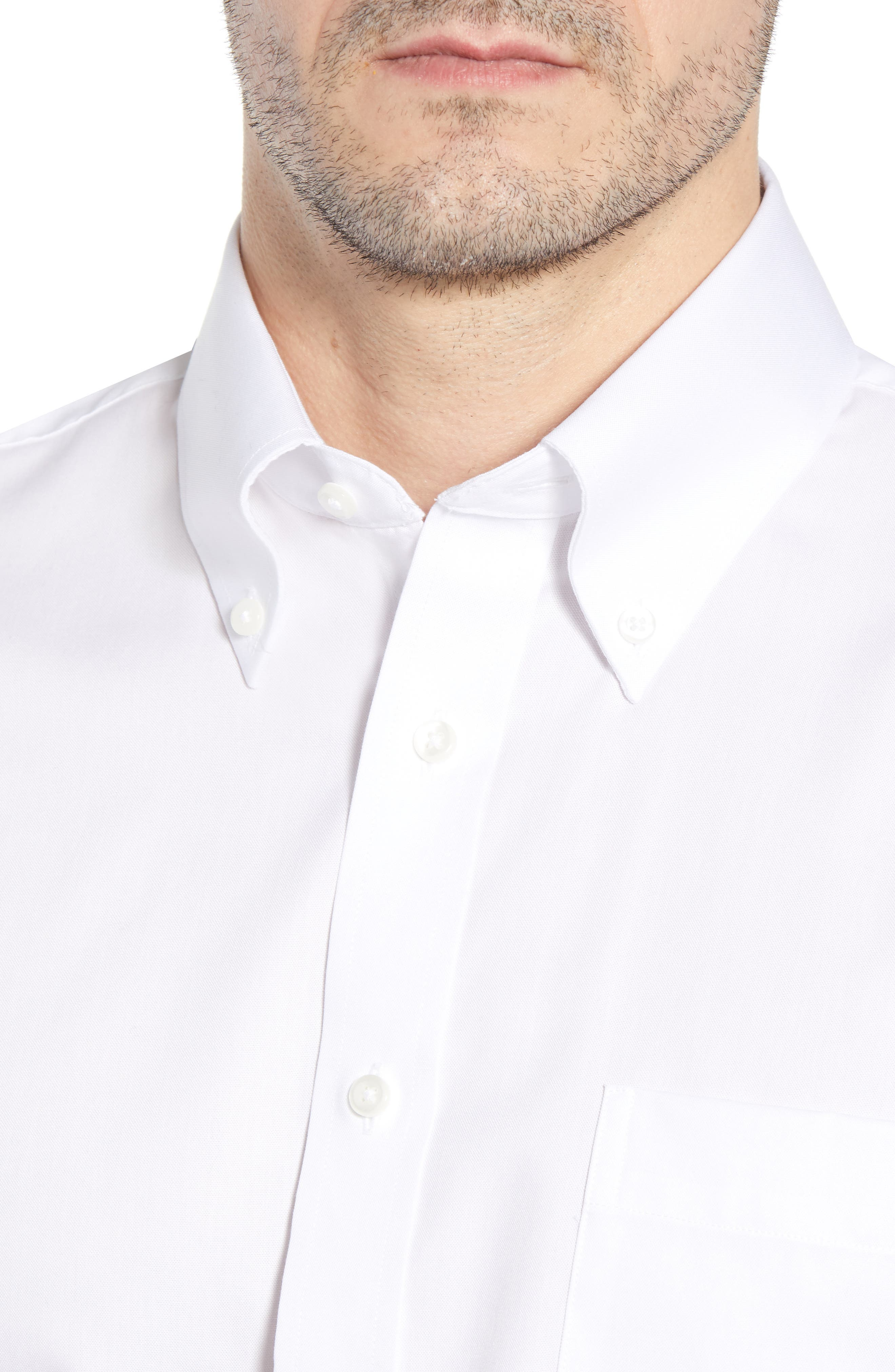 Classic Fit Non-Iron Solid Dress Shirt,                             Alternate thumbnail 3, color,                             WHITE