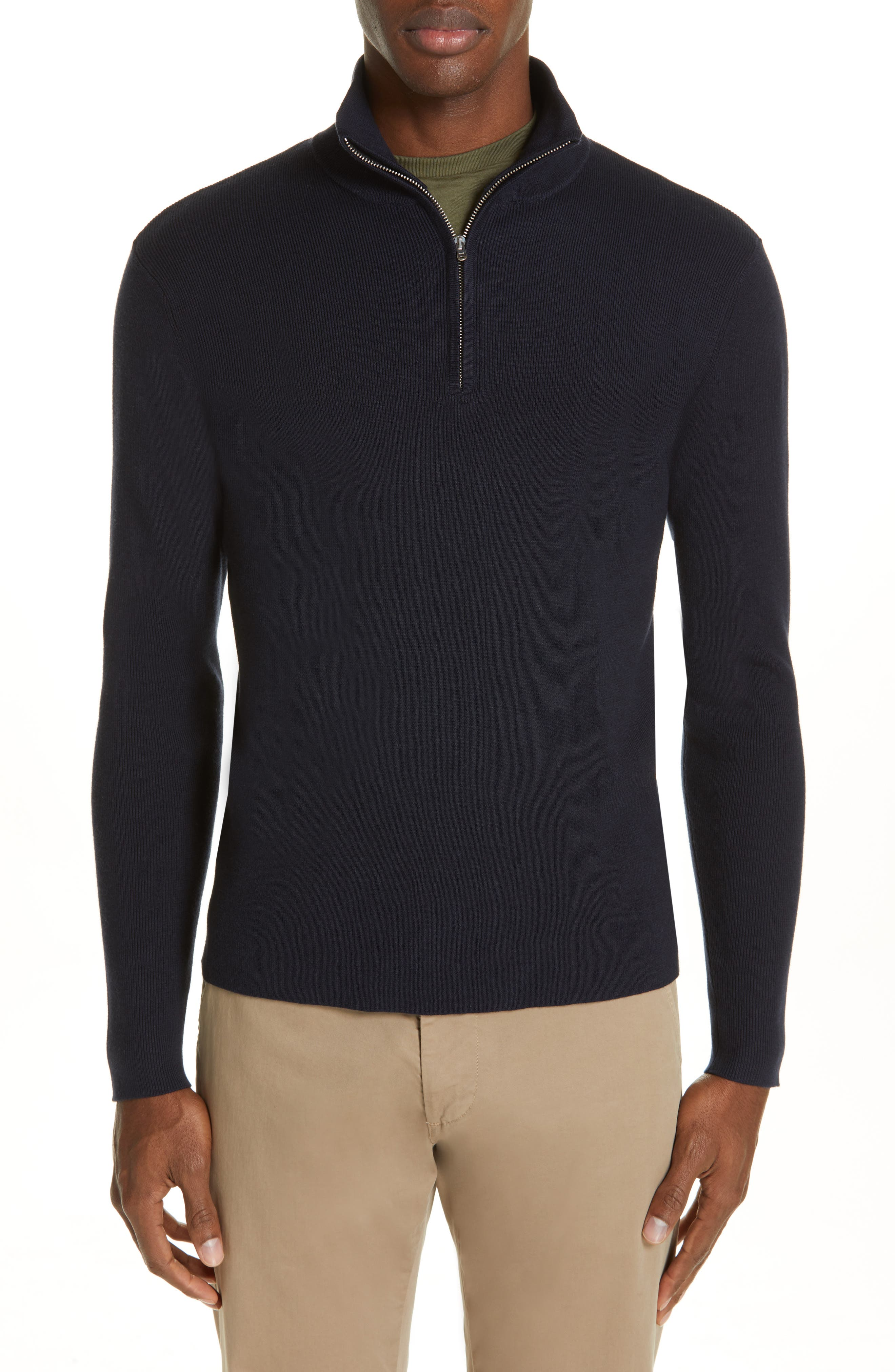 NORSE PROJECTS Fjord Quarter Zip Wool & Cotton Sweater in Dark Navy