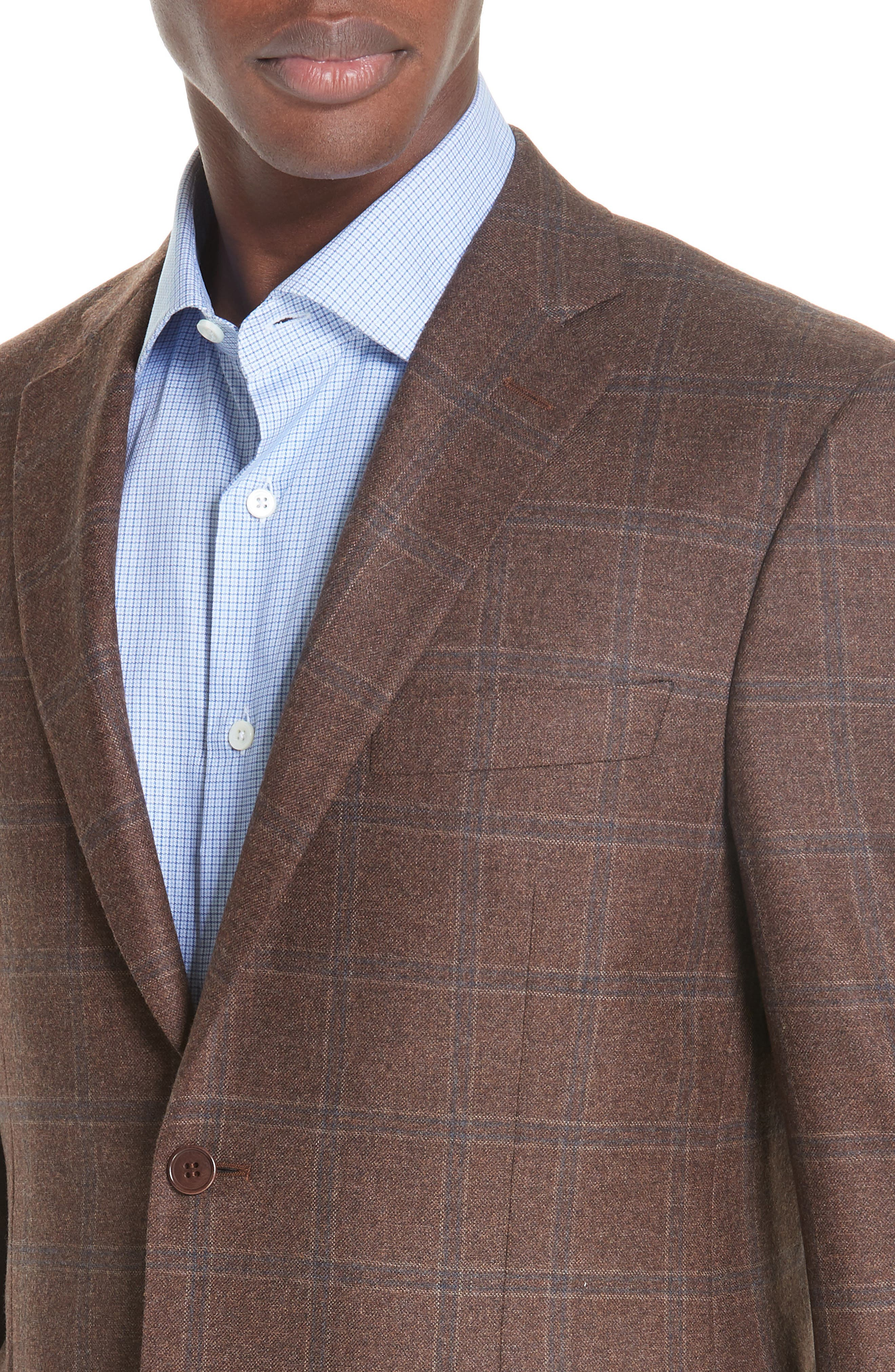 Classic Fit Windowpane Wool Sport Coat,                             Alternate thumbnail 4, color,                             MED BROWN