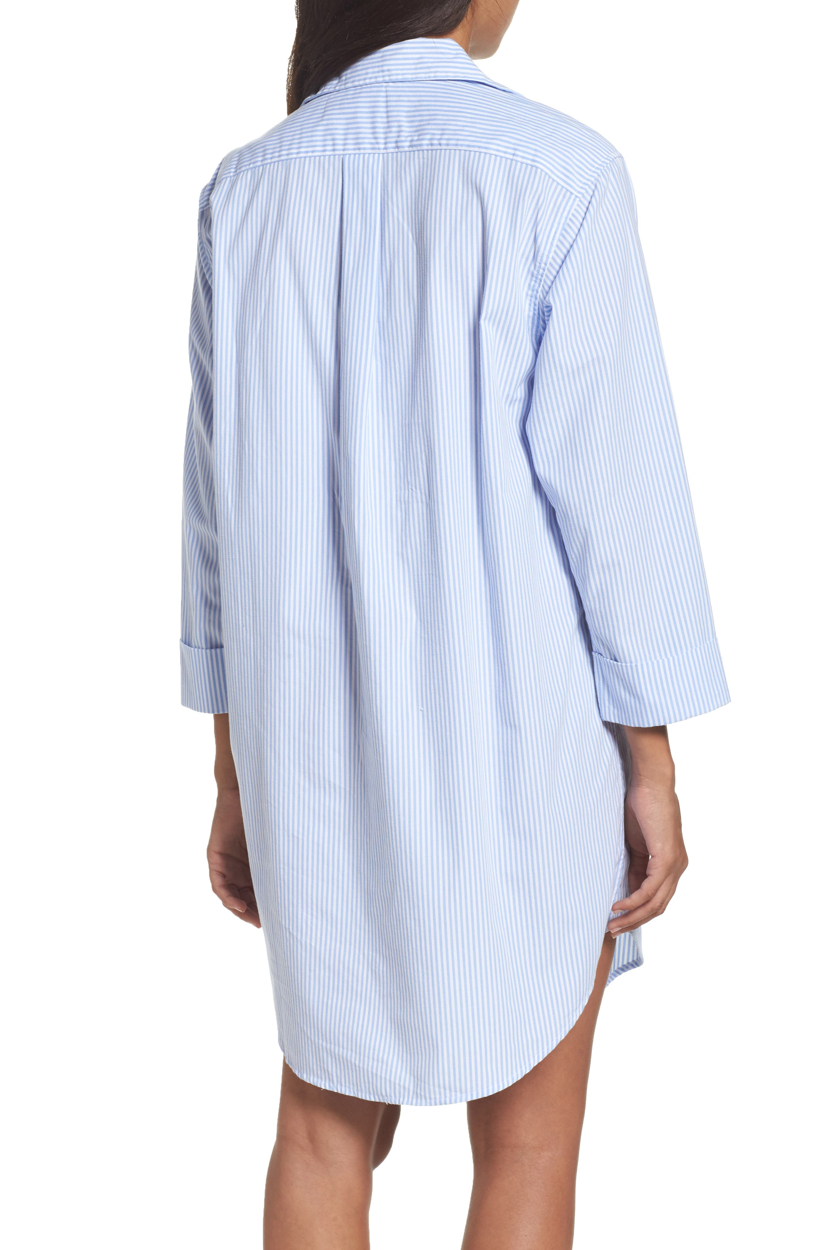 Cotton Poplin Sleep Shirt,                             Alternate thumbnail 3, color,                             452
