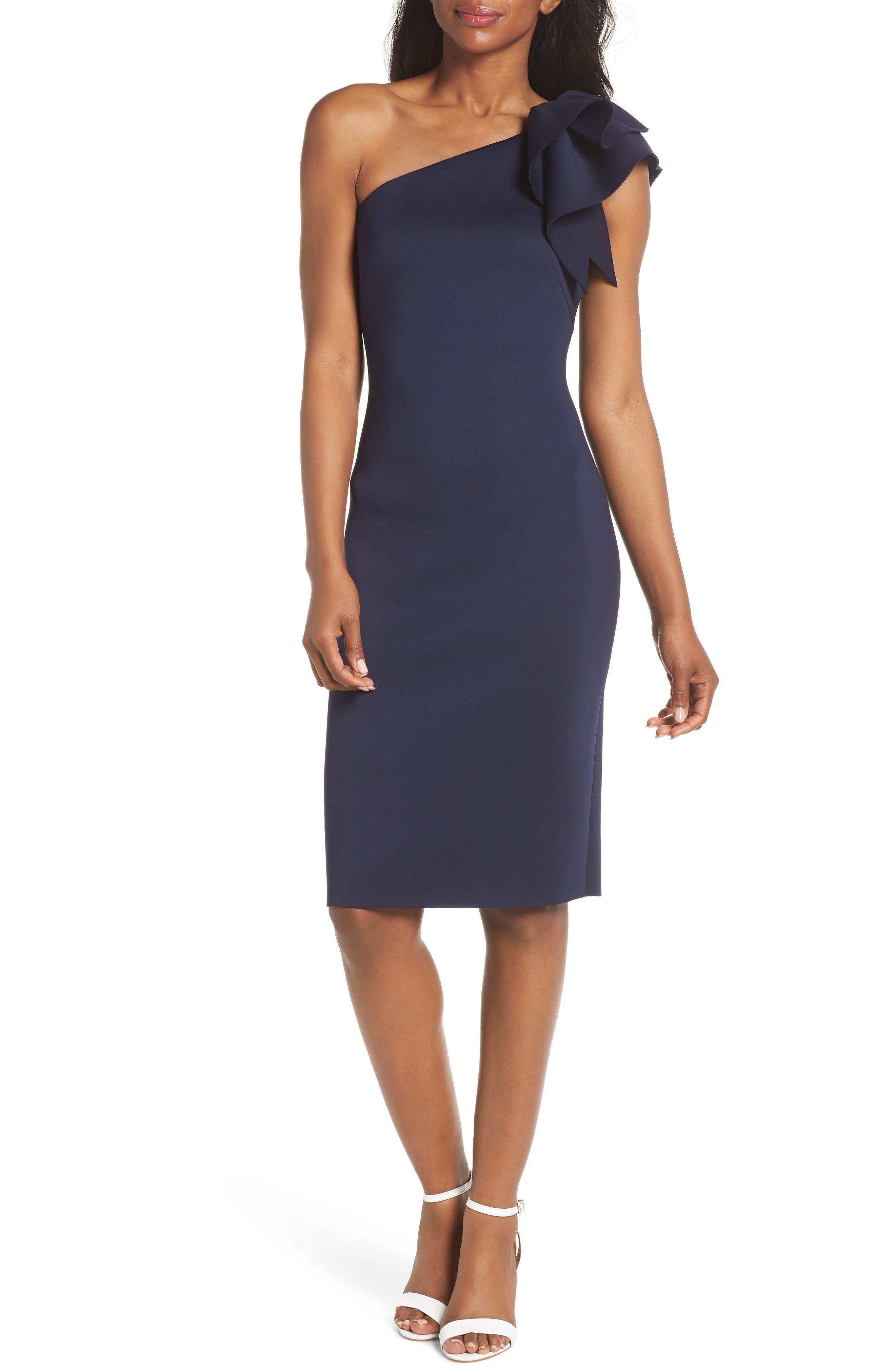 One-Shoulder Ruffle Sheath Dress,                         Main,                         color, NAVY