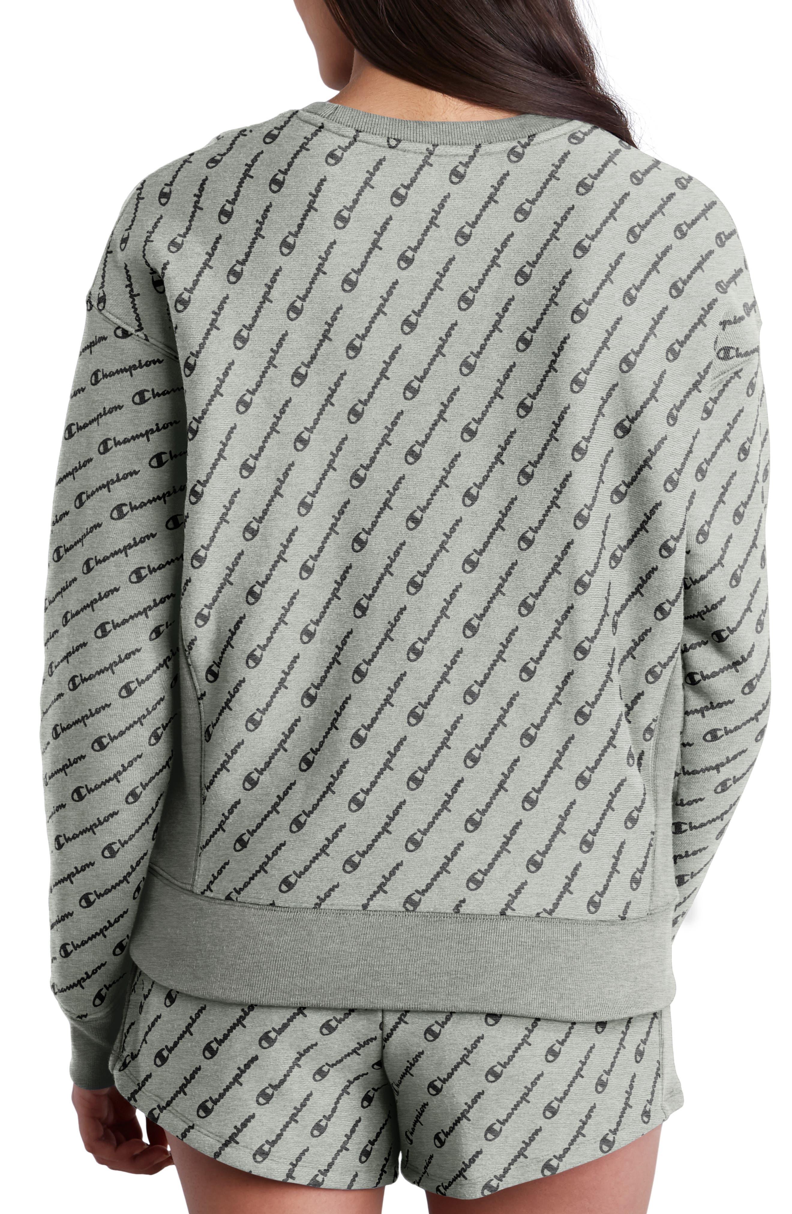 All Over Logo Reverse Weave Sweatshirt,                             Alternate thumbnail 2, color,                             DIAG LOGO SCRIPT HEATHER