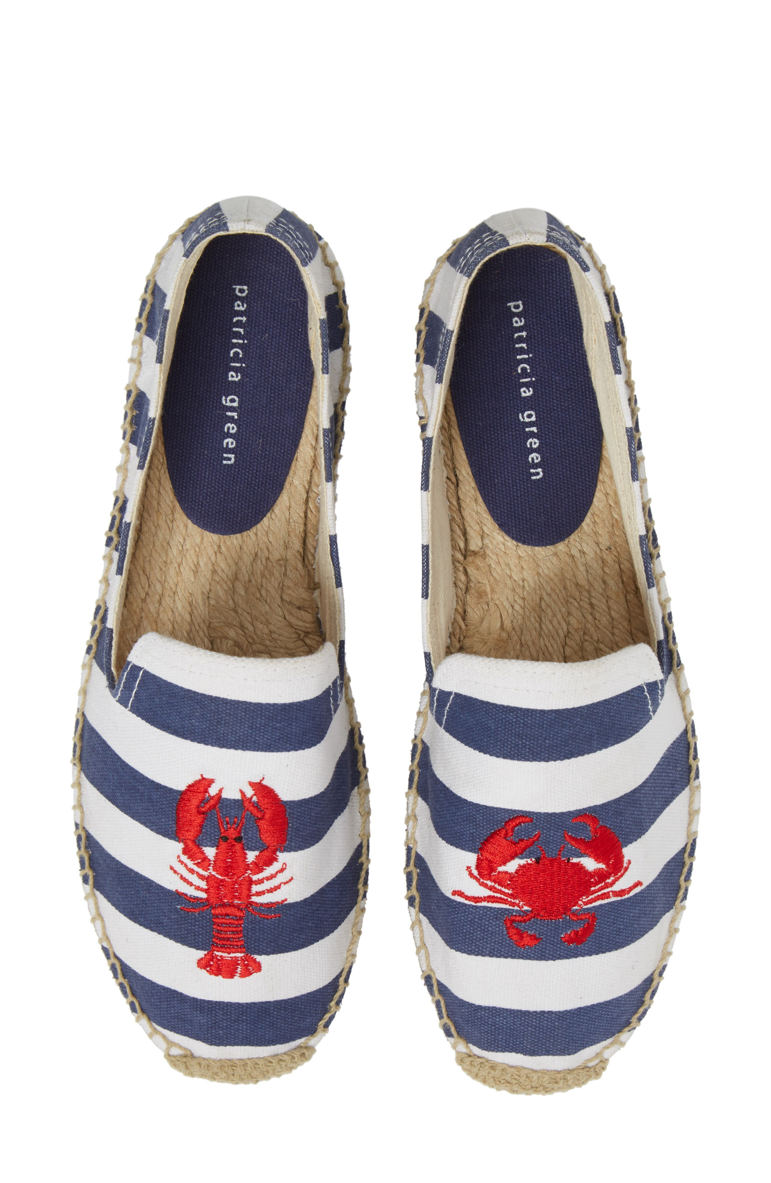 Embroidered Lobster & Crab Espadrille Flat,                             Main thumbnail 1, color,                             415
