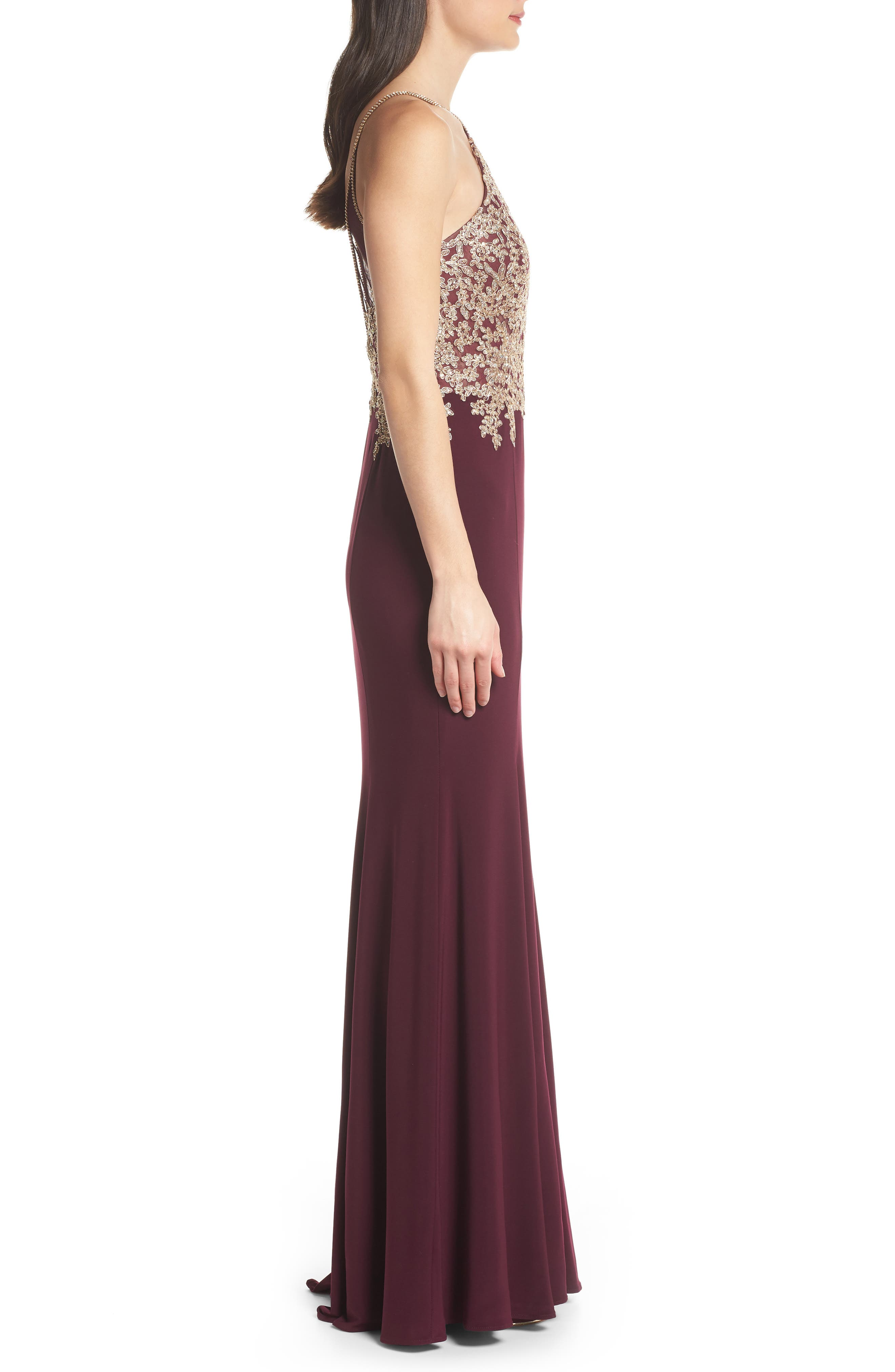 Gold Embroidery Halter Neck Gown,                             Alternate thumbnail 3, color,                             WINE/ GOLD