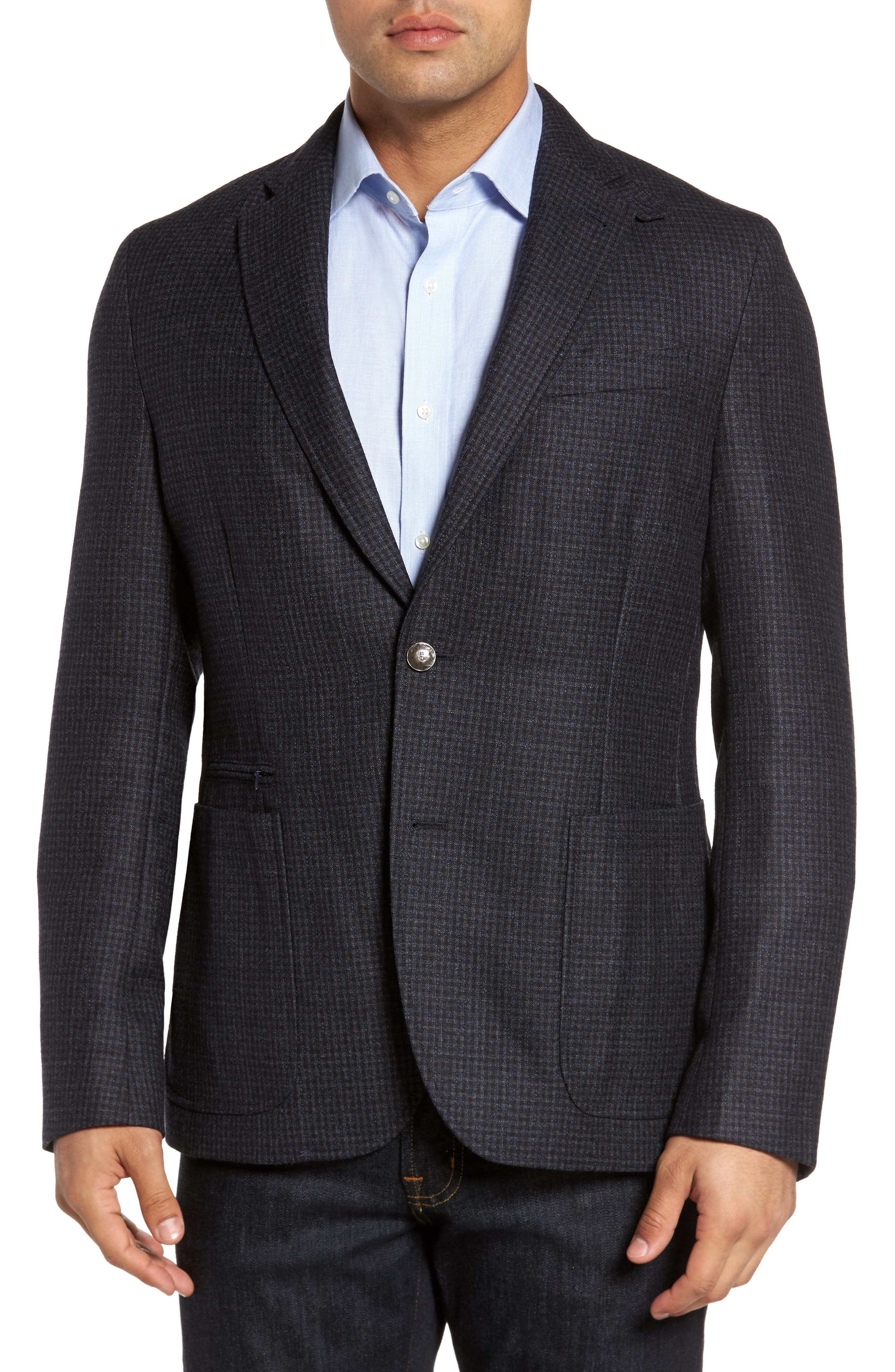 Jones Aim Hybrid Classic Fit Check Wool Sport Coat,                             Alternate thumbnail 4, color,