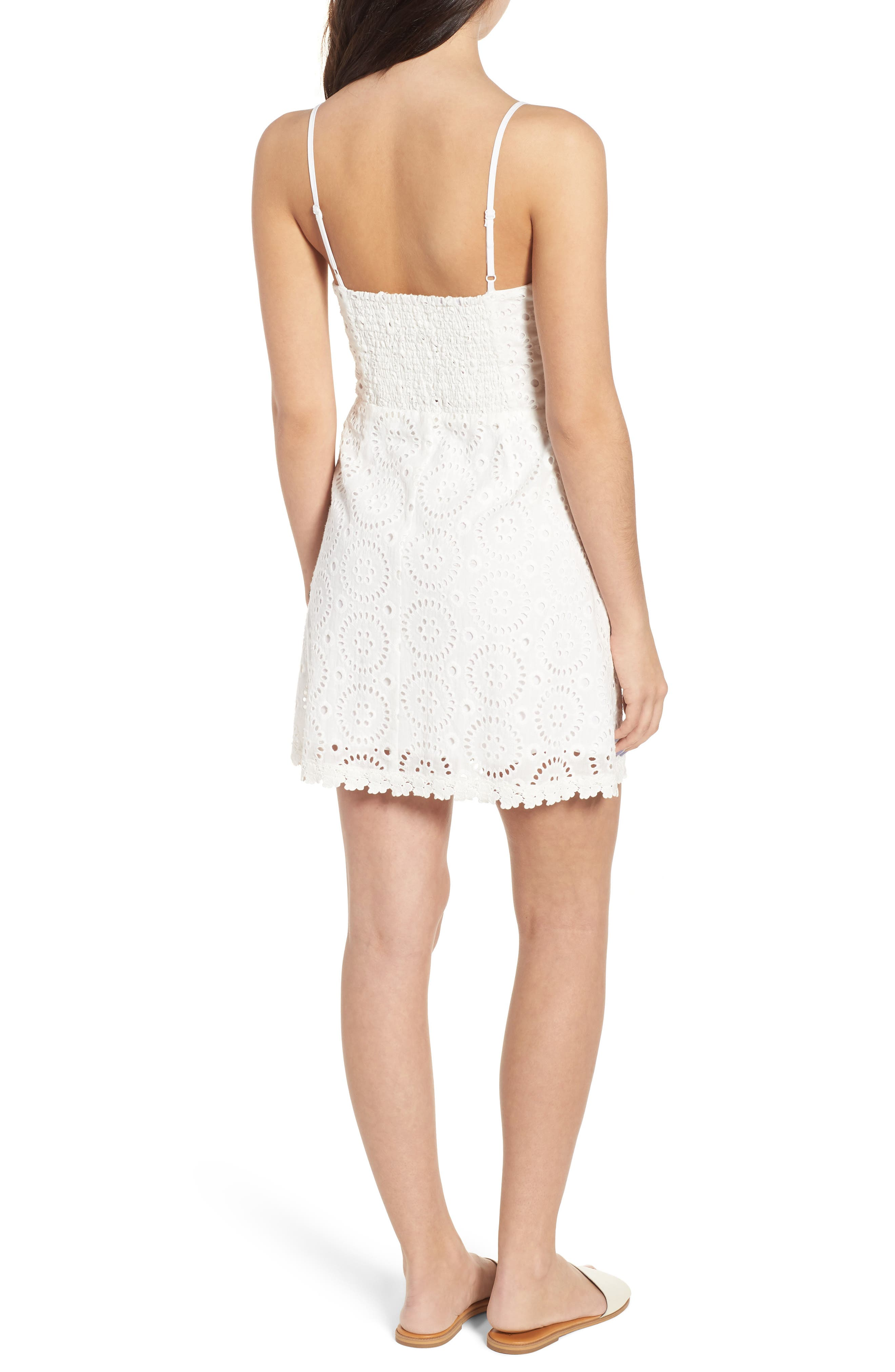 Bianca Eyelet Minidress,                             Alternate thumbnail 2, color,