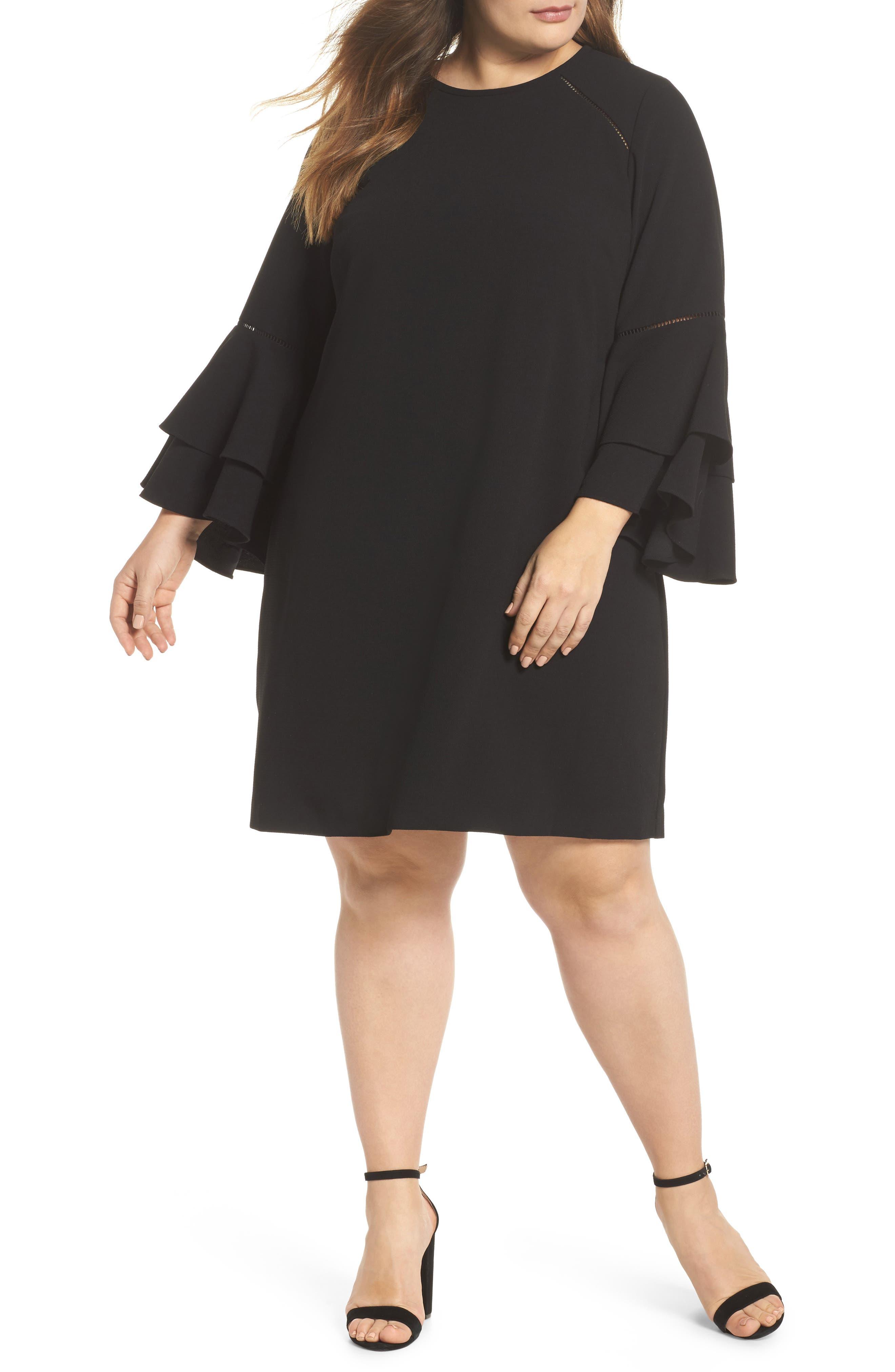Ruffle Bell Sleeve Shift Dress,                         Main,                         color, 001