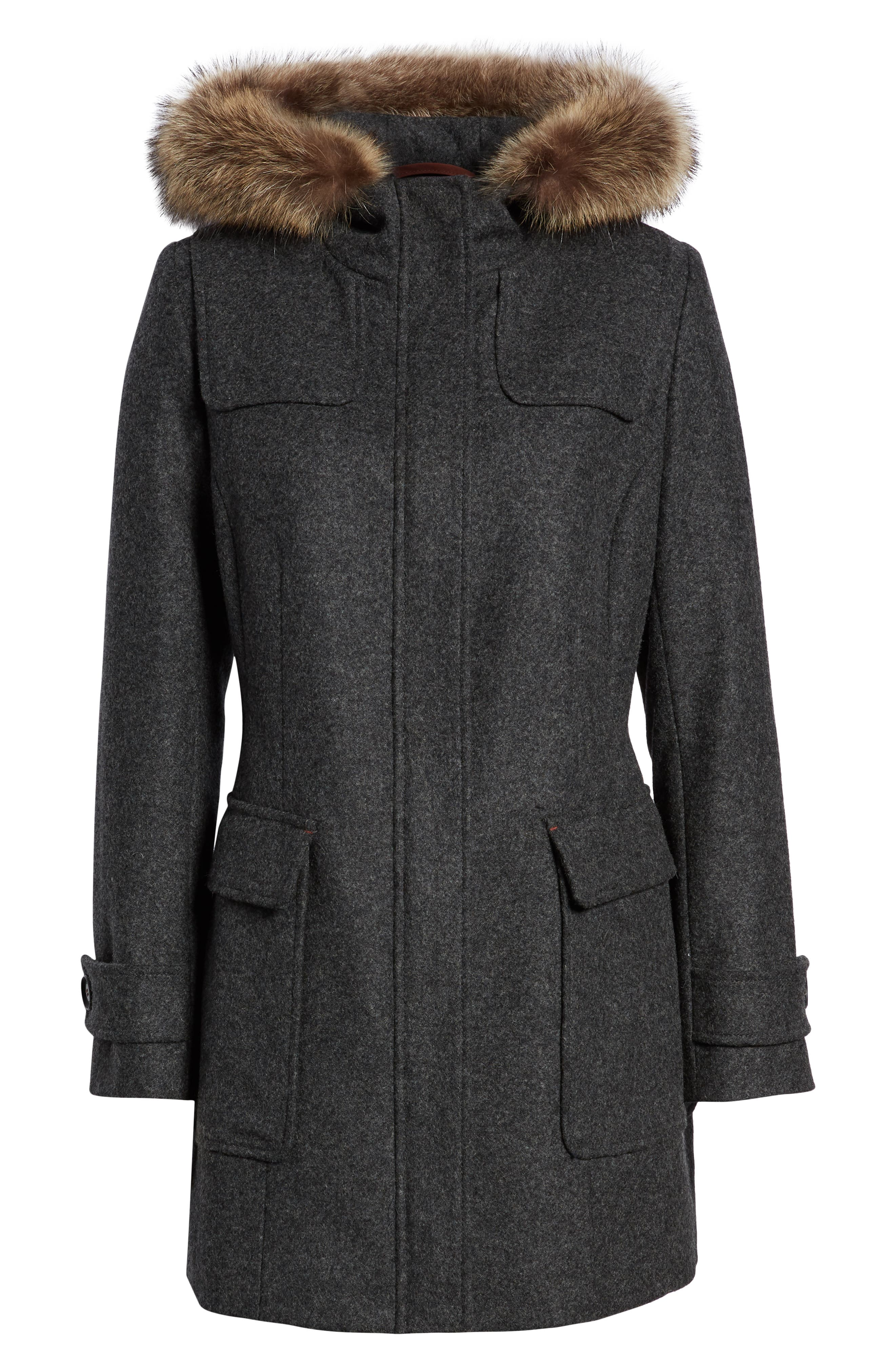 Portland Wool Duffle Coat with Genuine Fur Trim,                             Alternate thumbnail 6, color,                             ASH MEL