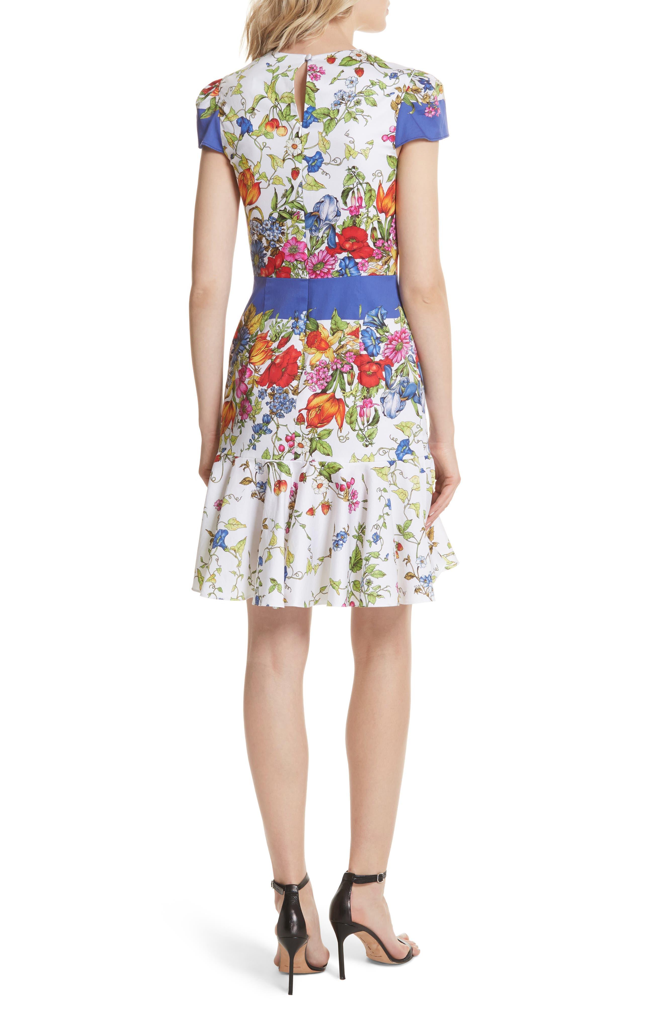 Karissa Floral Stretch Cotton Dress,                             Alternate thumbnail 2, color,                             164