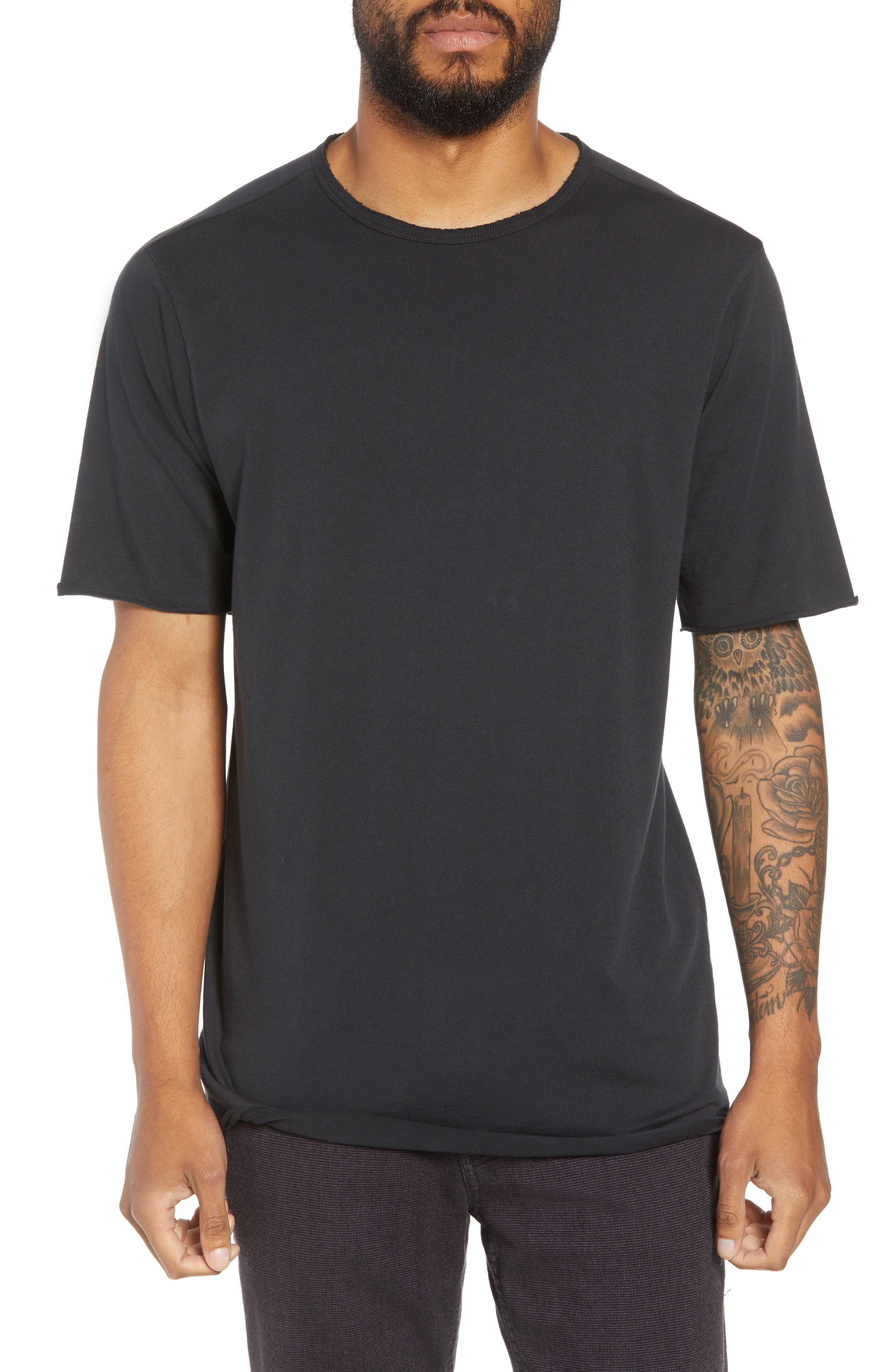 Regular Fit Elongated T-Shirt,                         Main,                         color, BLACK