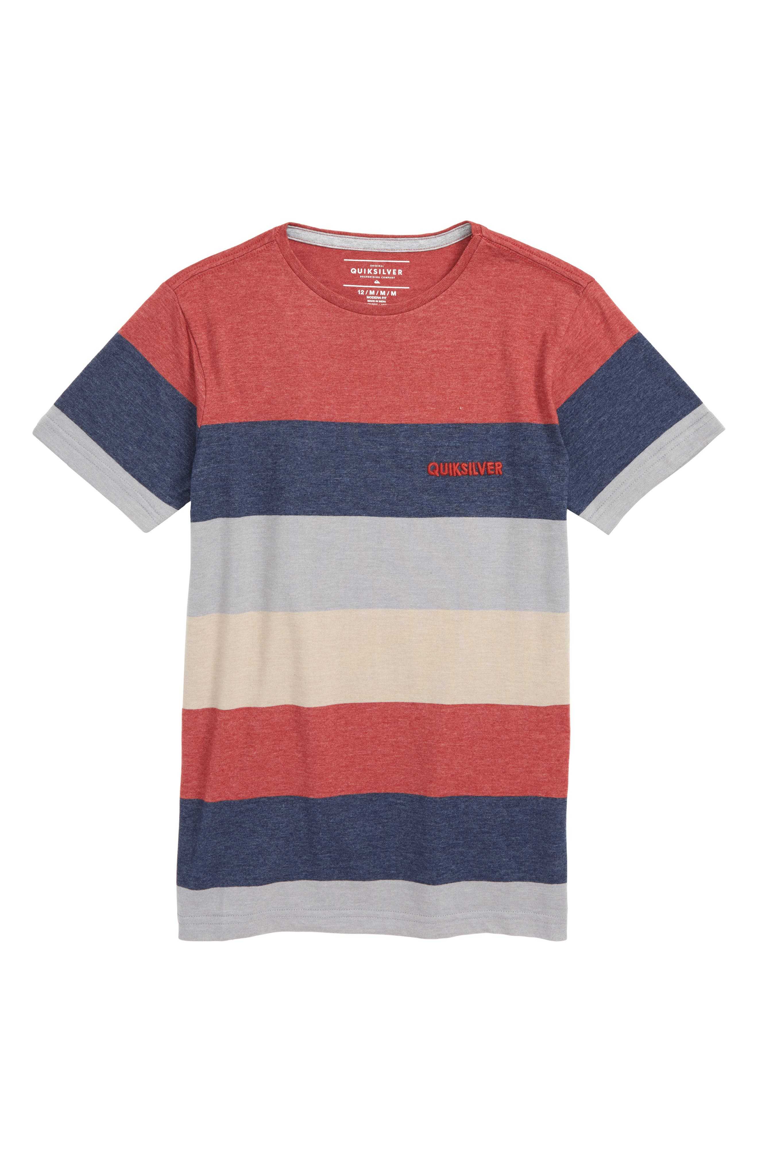 Unsung Heroes Stripe T-Shirt, Main, color, BRICK RED HEATHER
