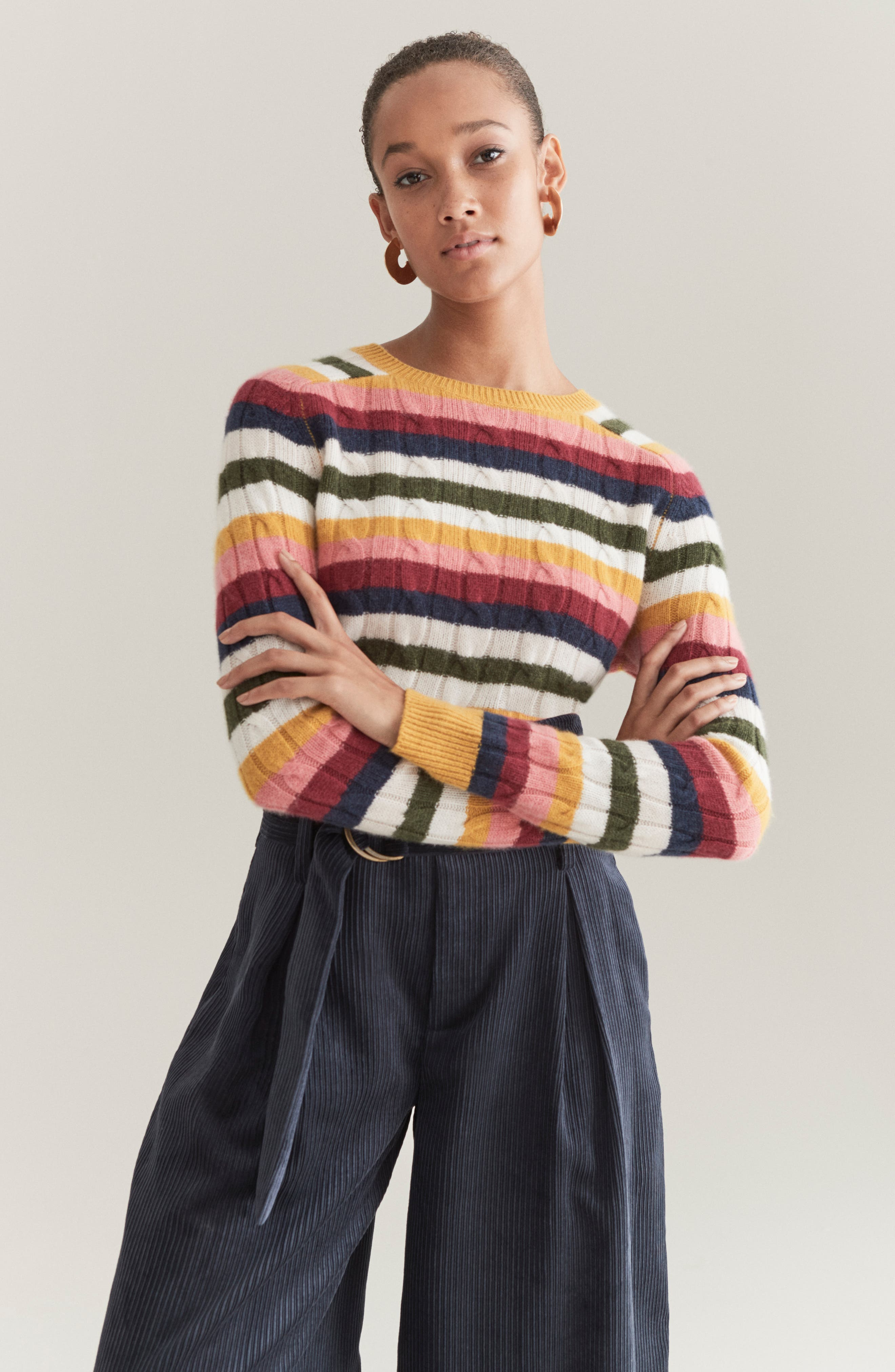 Cashmere Cable Sweater,                             Alternate thumbnail 7, color,                             RED MULTI HAPPY STRIPE