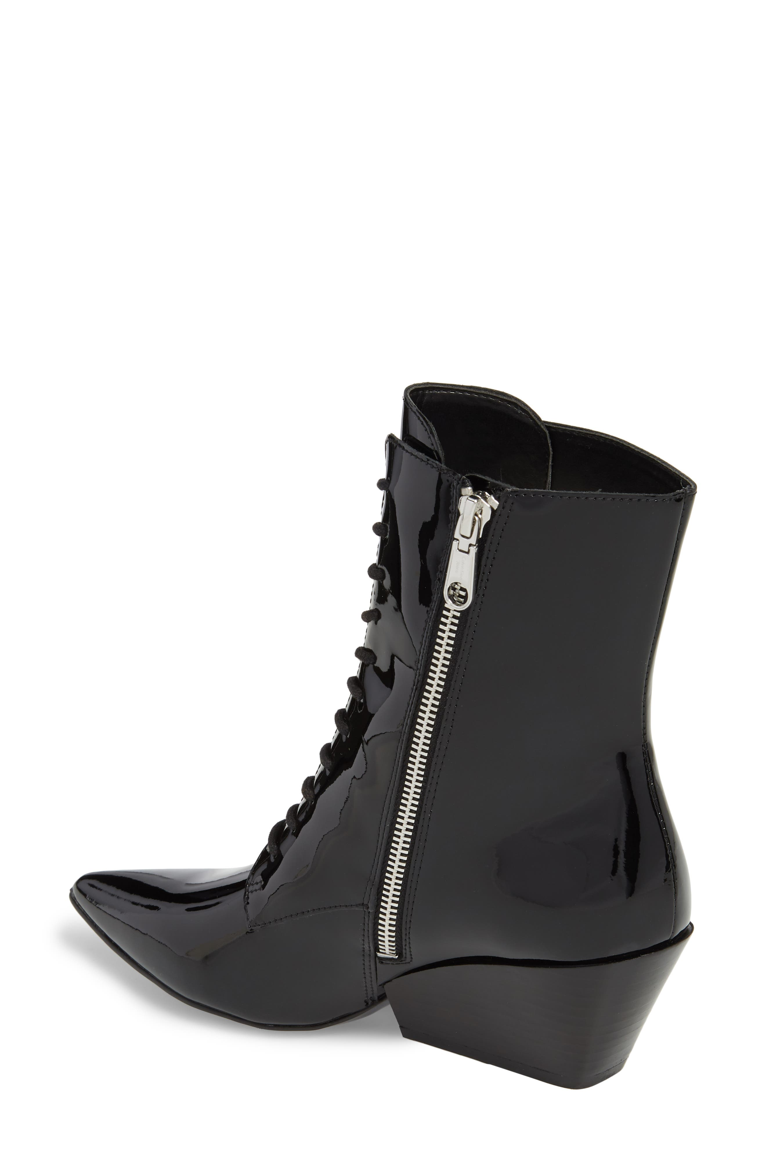 Faith Pointy Toe Laced Bootie,                             Alternate thumbnail 2, color,                             BLACK PATENT