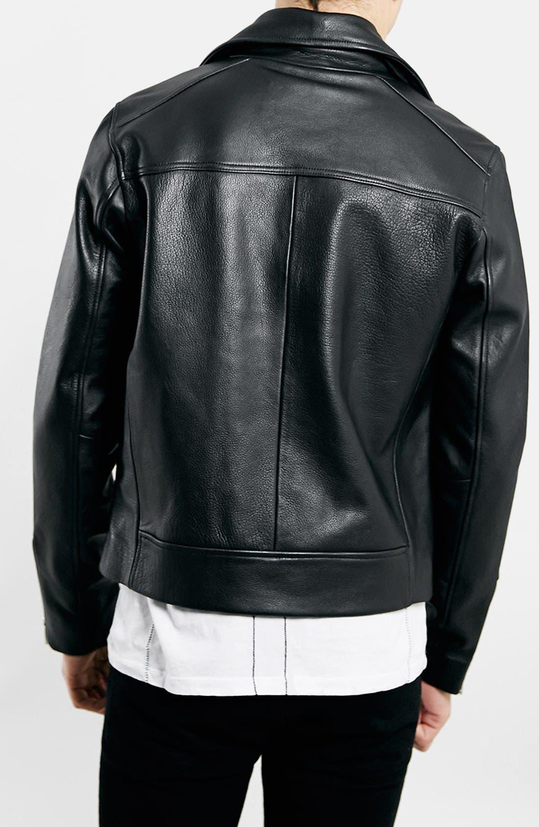 TOPMAN,                             Black Leather Biker Jacket,                             Alternate thumbnail 2, color,                             001
