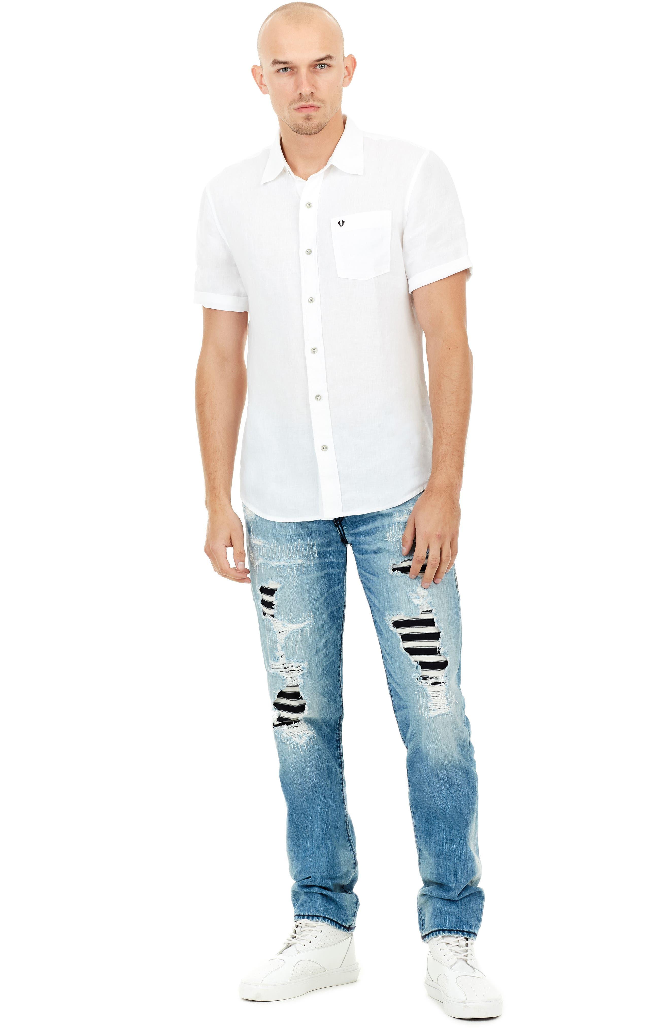 Roll Cuff Linen Shirt,                             Alternate thumbnail 3, color,                             100