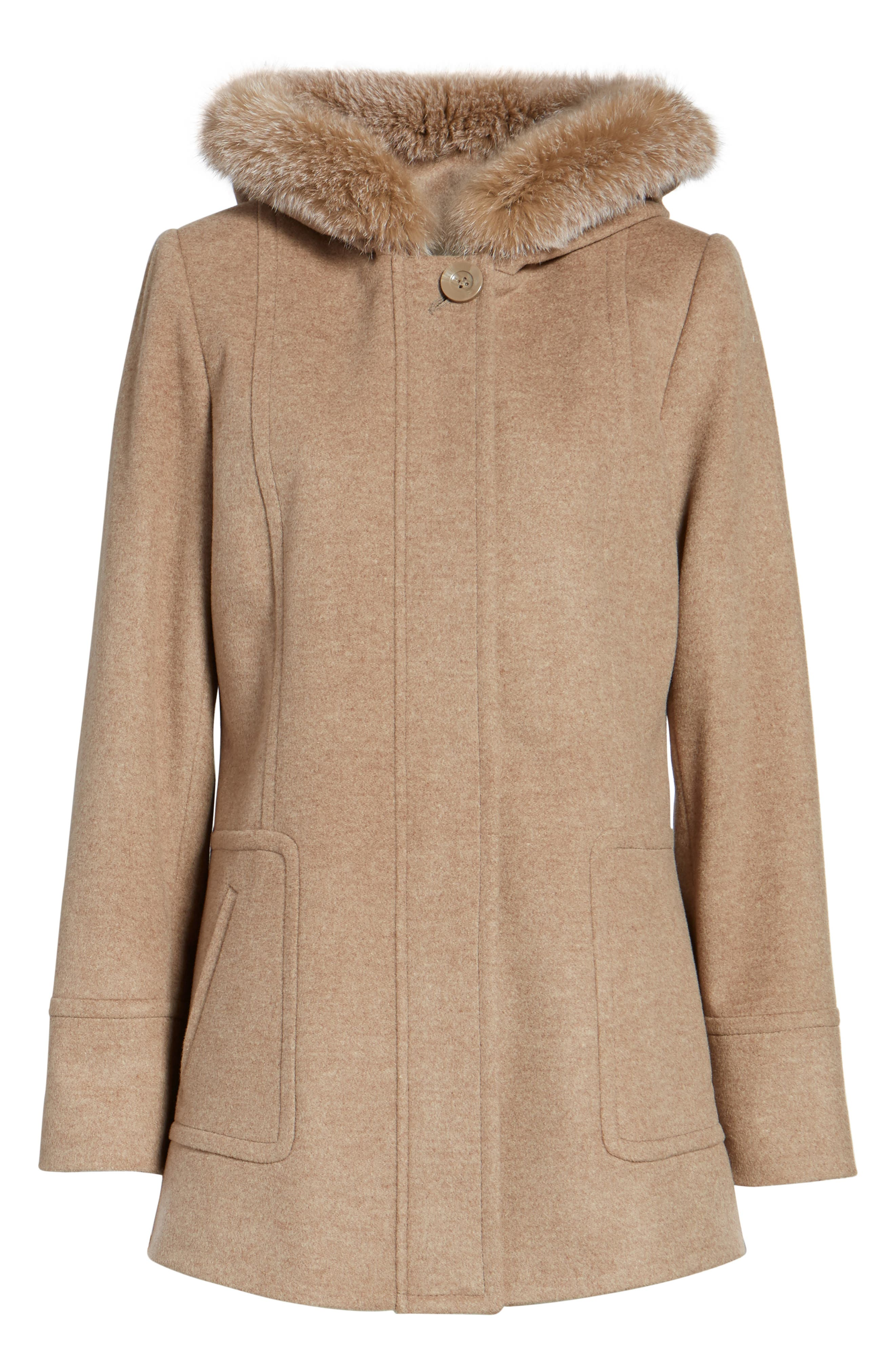 Hooded Wool Blend Coat with Genuine Fox Fur Trim,                             Alternate thumbnail 14, color,
