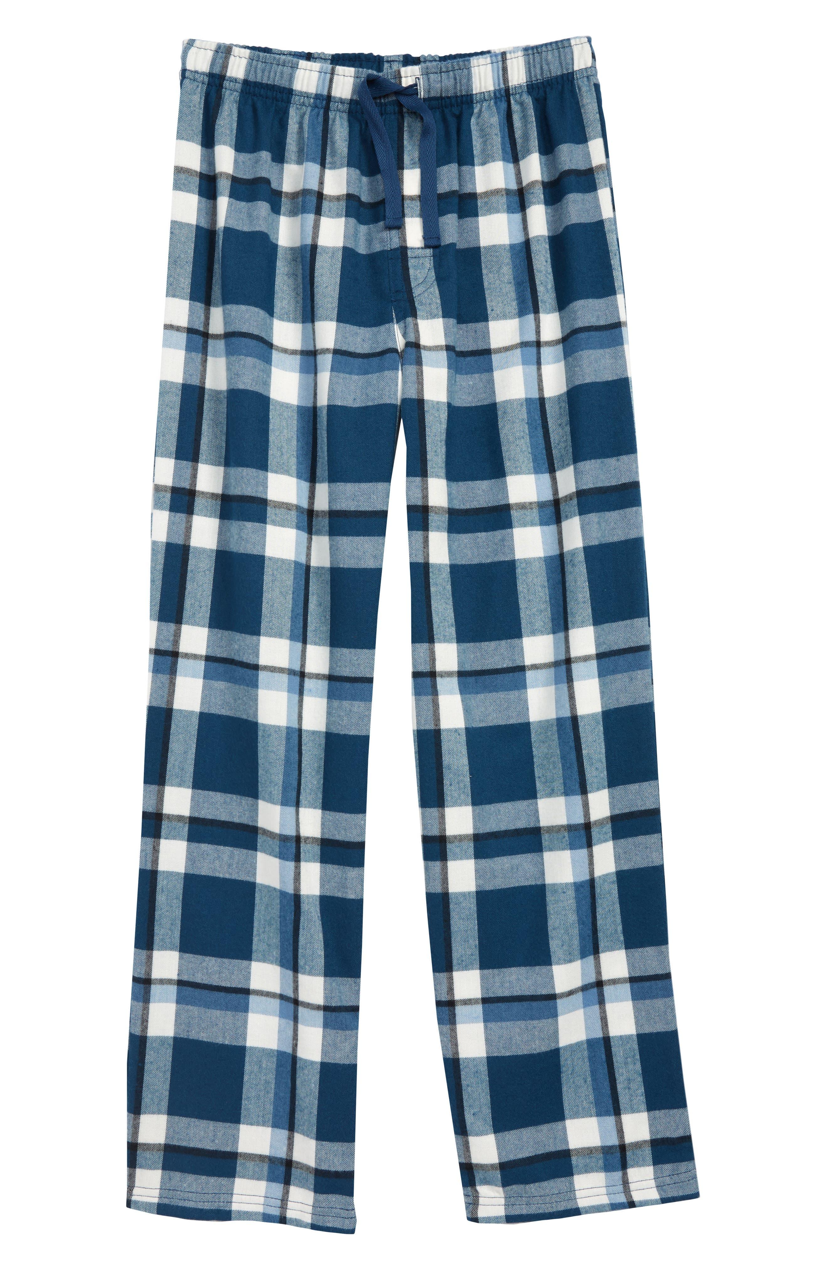 Plaid Flannel Pants,                         Main,                         color, BLUE WING- IVORY PLAID