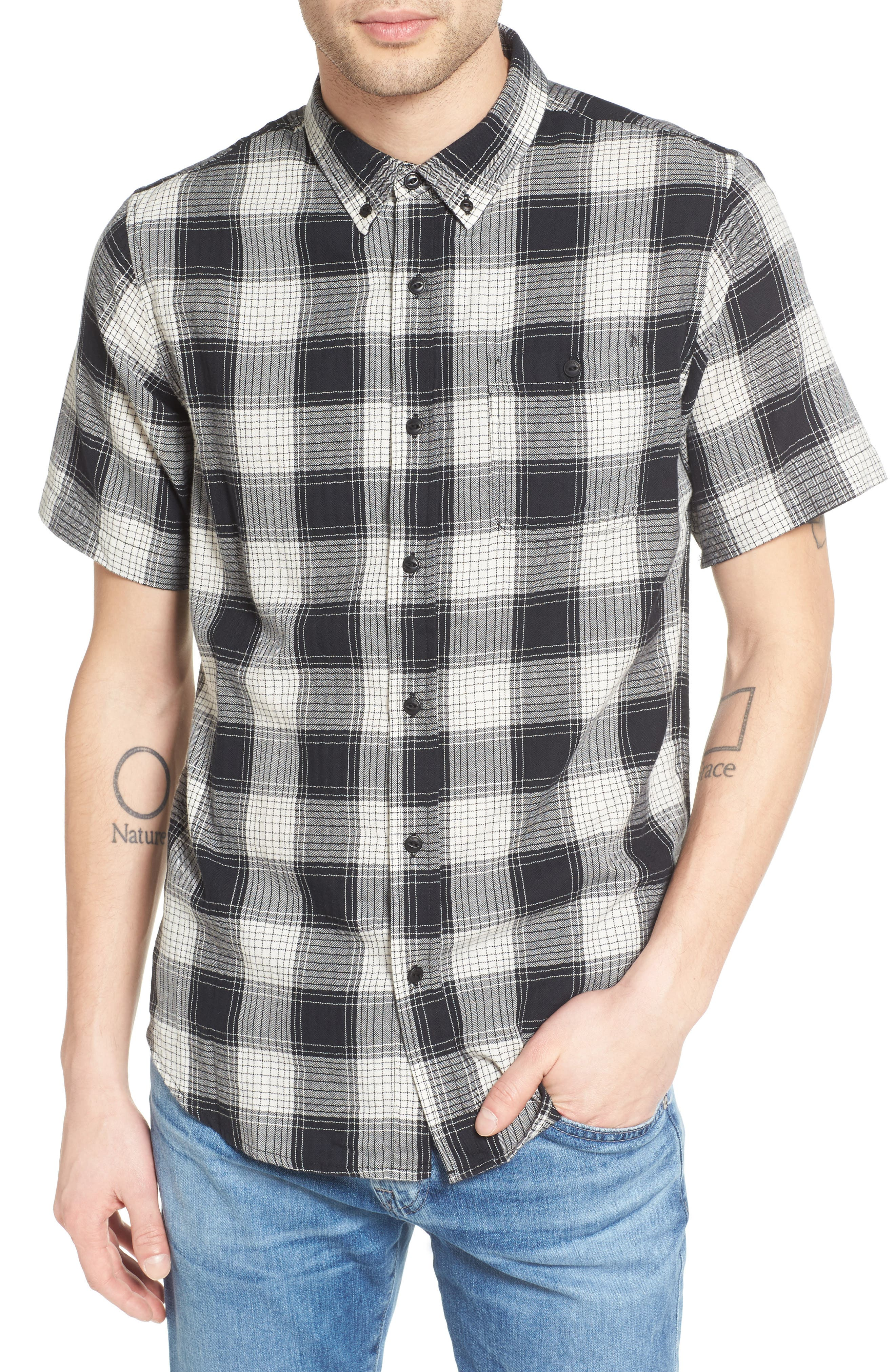 Herringbone Woven Plaid Shirt,                         Main,                         color, 100