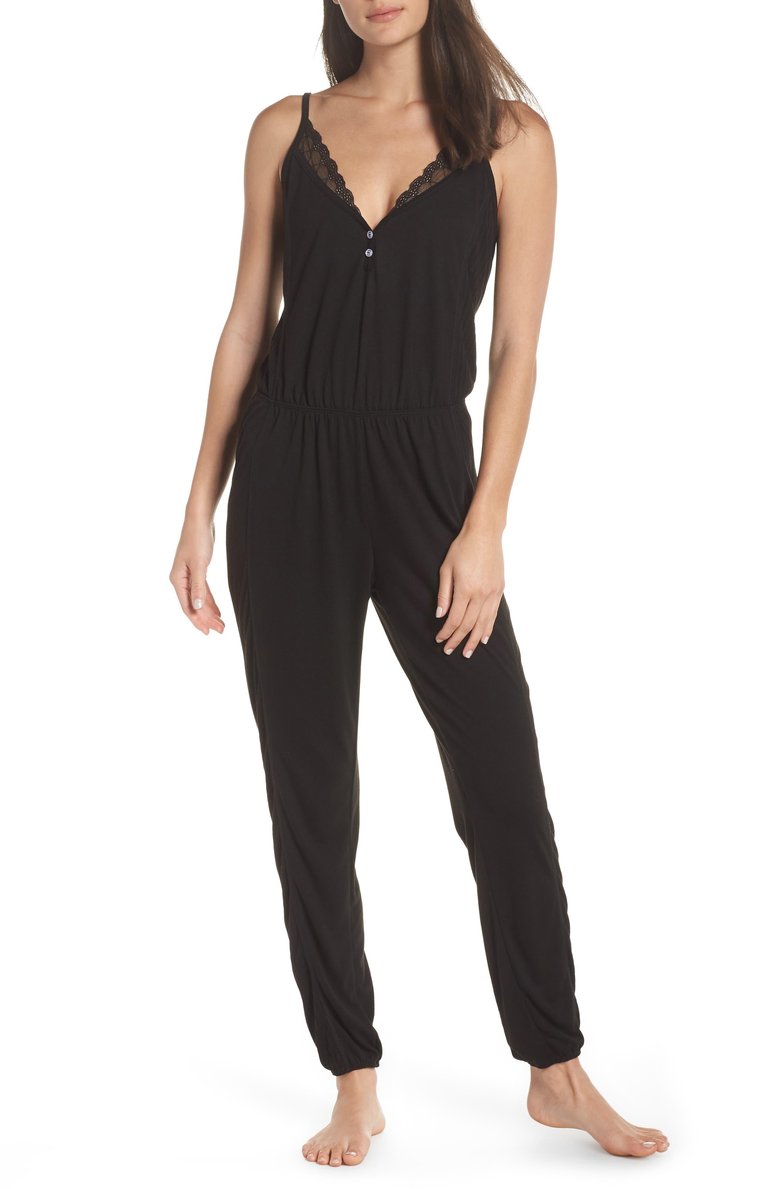 Romper Pajamas,                             Main thumbnail 1, color,                             BLACK