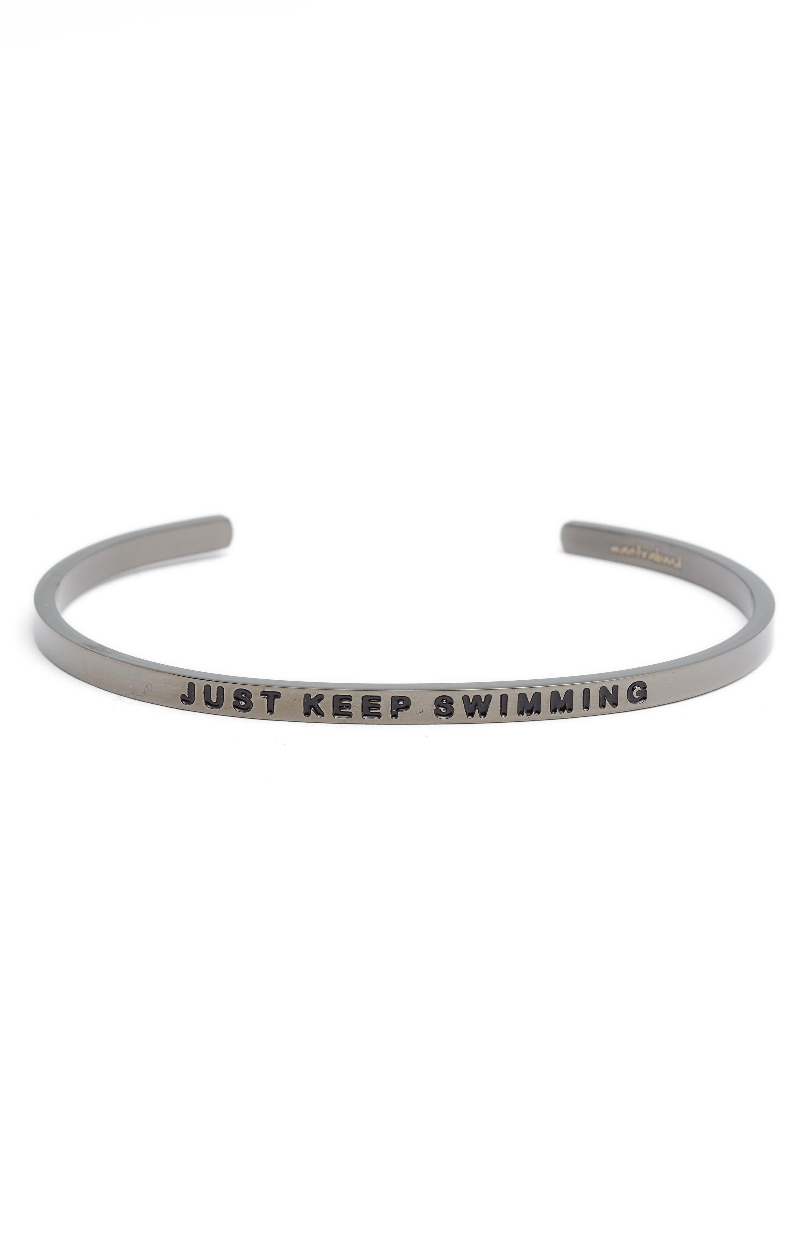 Just Keep Swimming Engraved Cuff,                             Main thumbnail 1, color,                             021