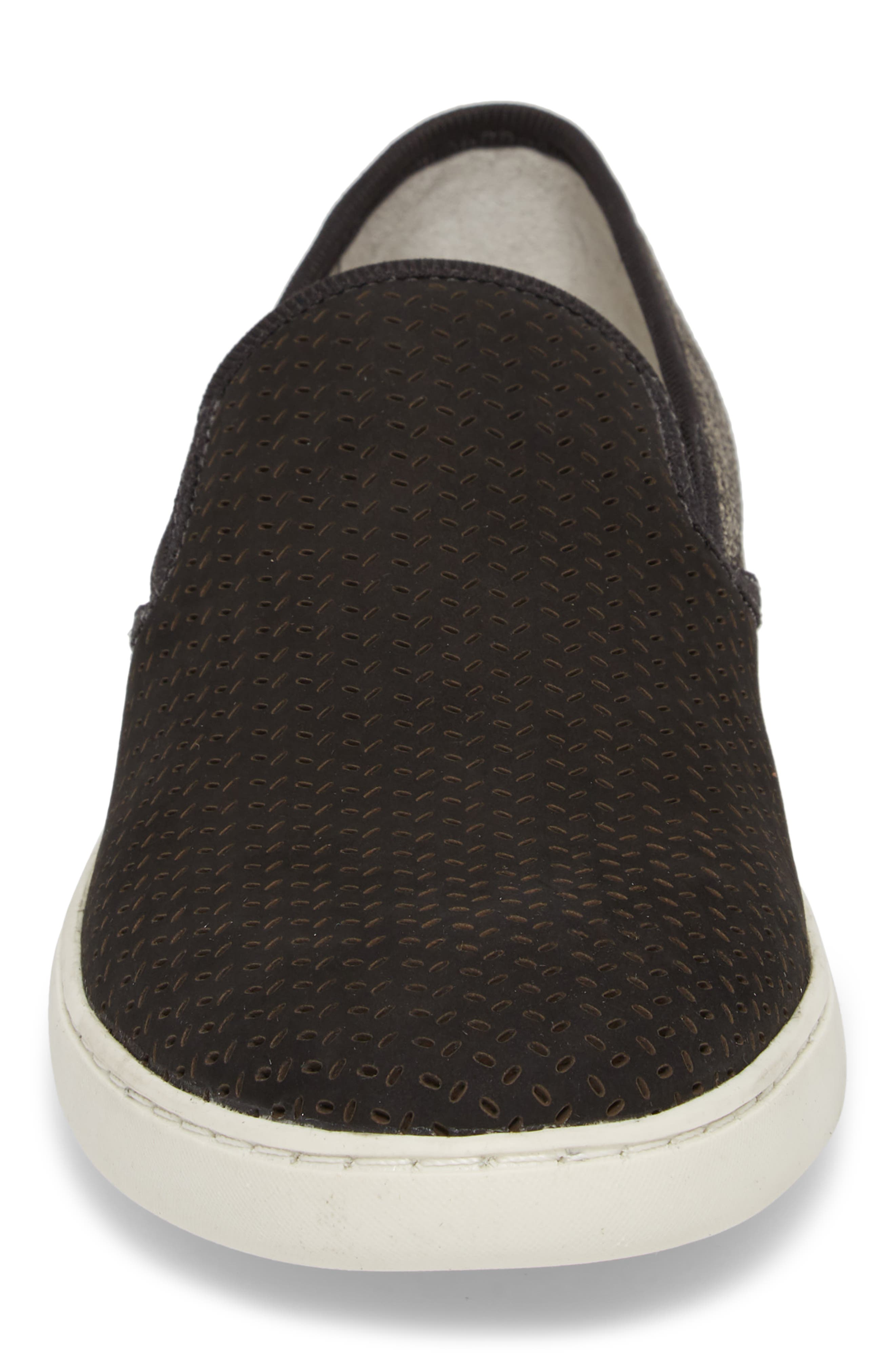 Malibu Perforated Loafer,                             Alternate thumbnail 4, color,                             BLACK LEATHER / GREY CANVAS