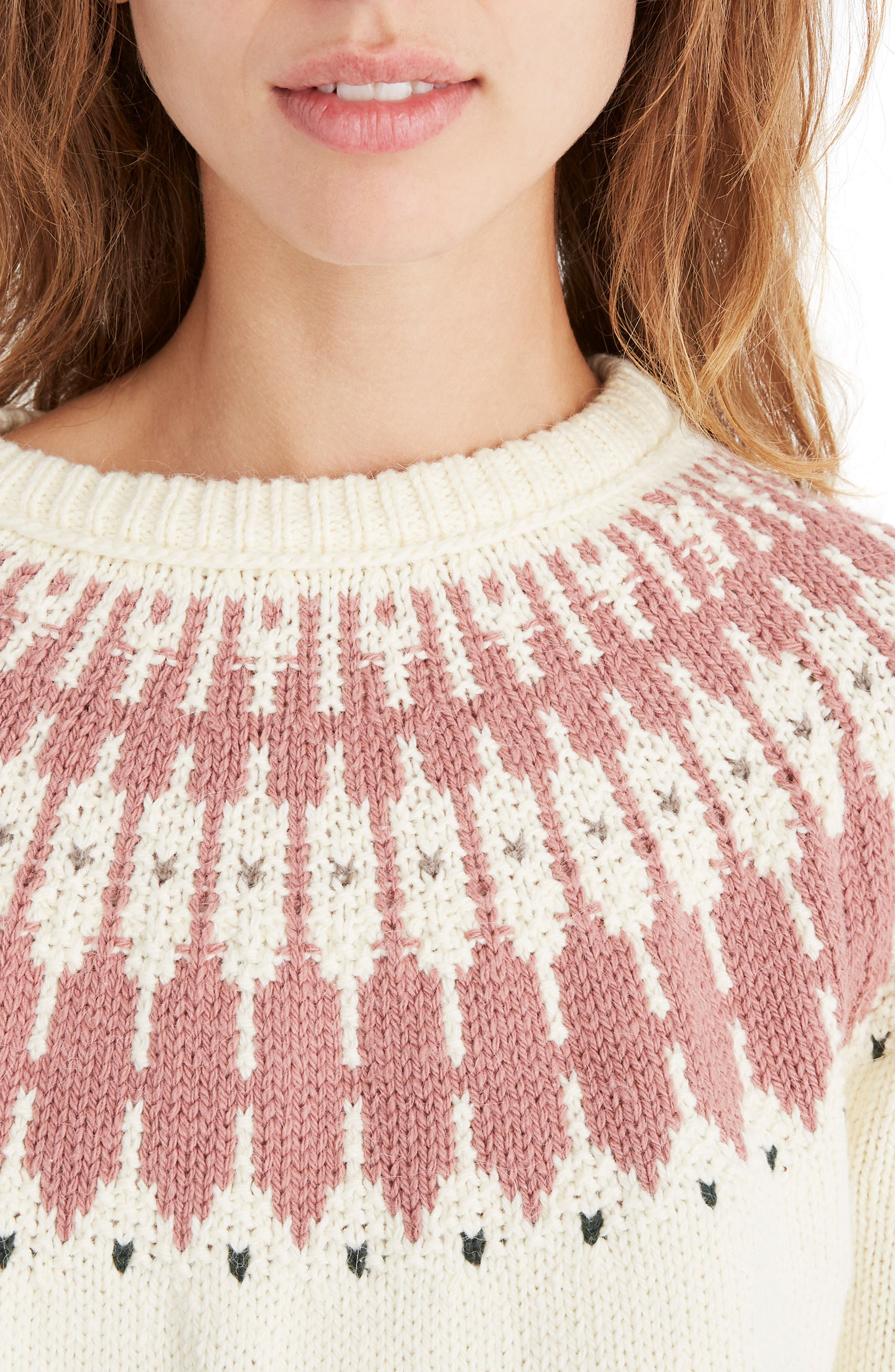 Keaton Fair Isle Sweater,                             Alternate thumbnail 4, color,                             ANTIQUE CREAM