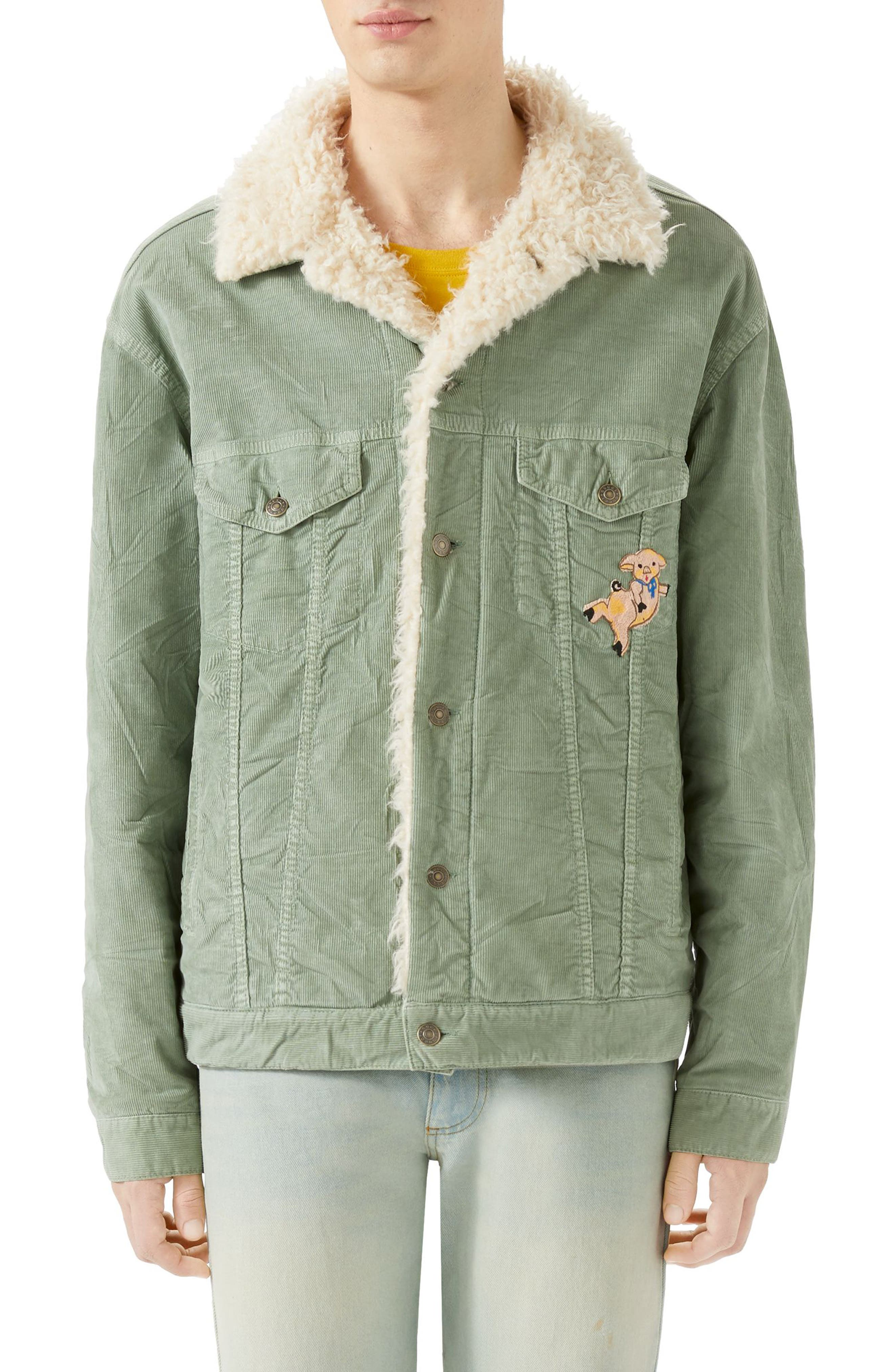 Corduroy Western Jacket with Faux Shearling Lining,                         Main,                         color, PALE GREEN
