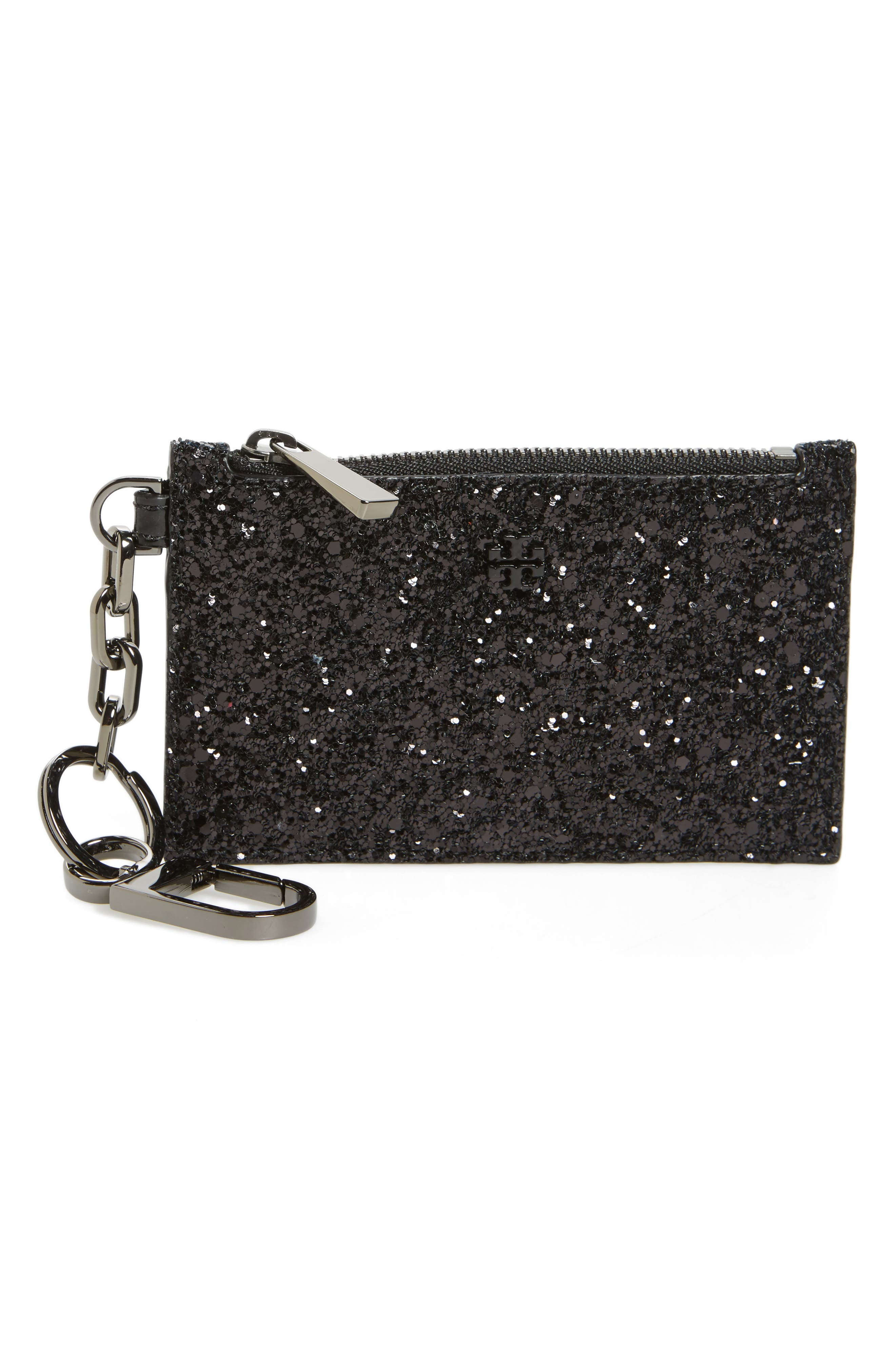 Robinson Glitter Card Case with Key Chain,                         Main,                         color, 001