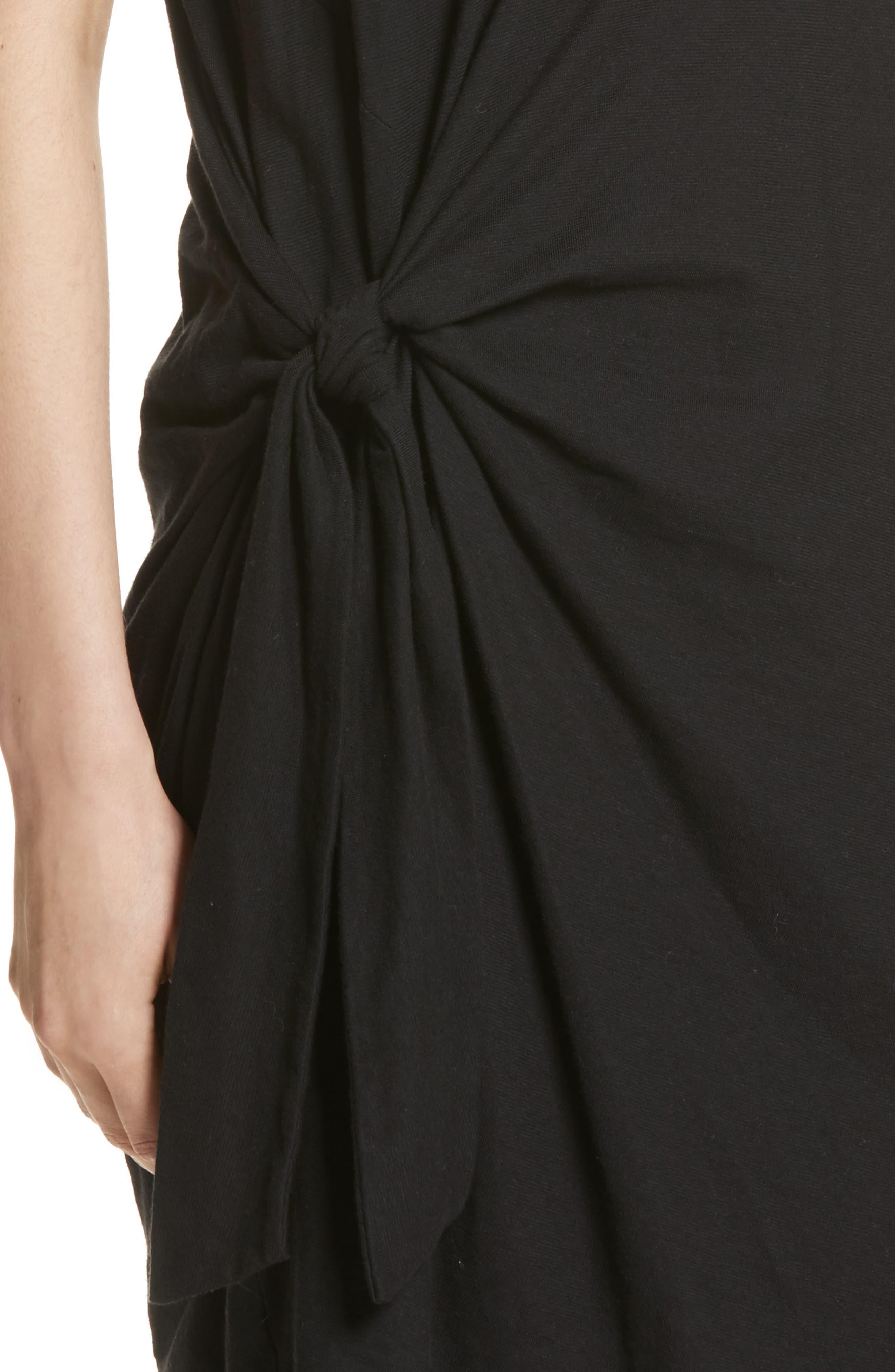 Side Tie Cotton Dress,                             Alternate thumbnail 4, color,                             001