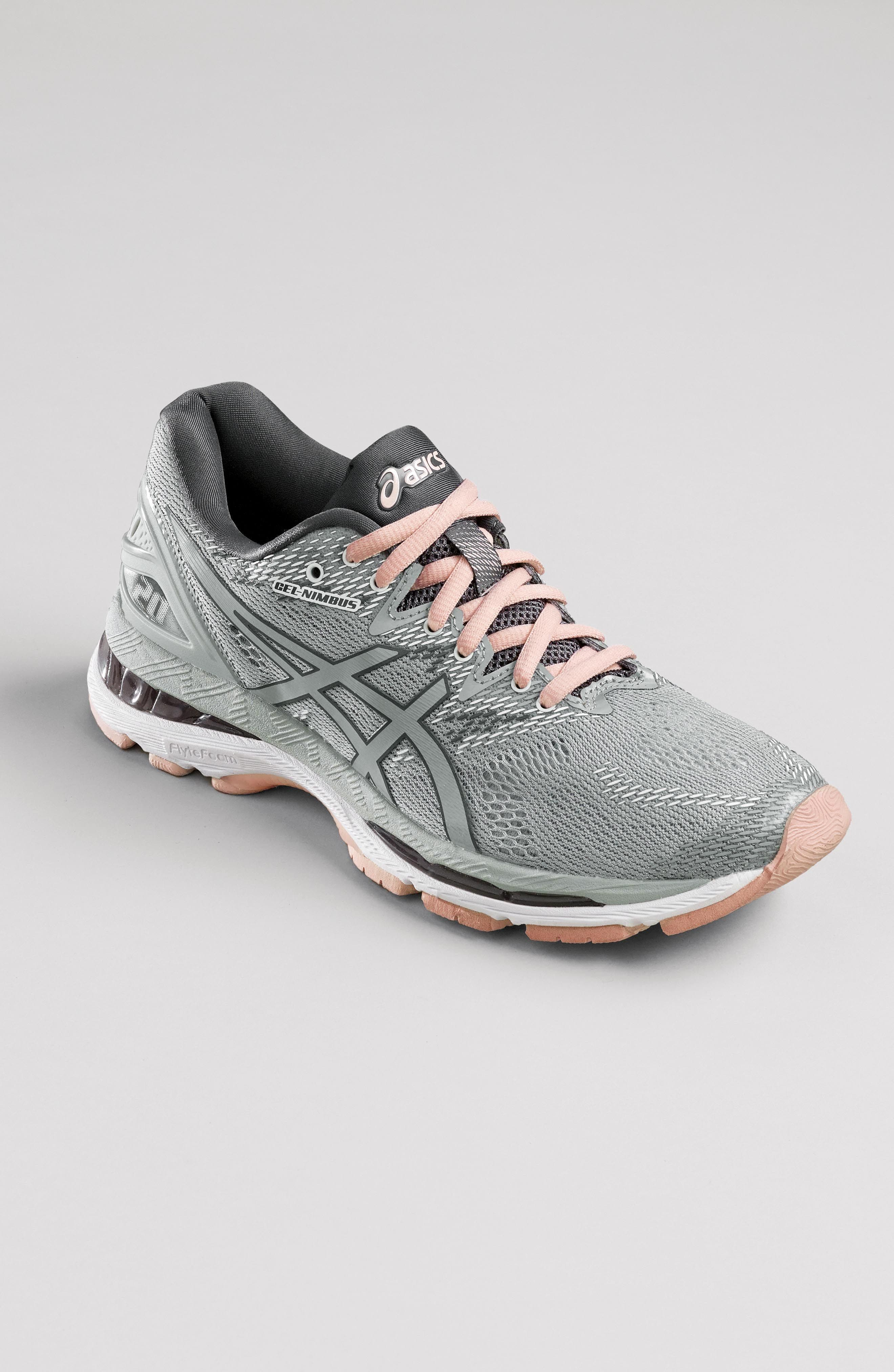 GEL<sup>®</sup>-Nimbus 20 Running Shoe,                             Alternate thumbnail 7, color,                             MID GREY/ SEASHELL PINK