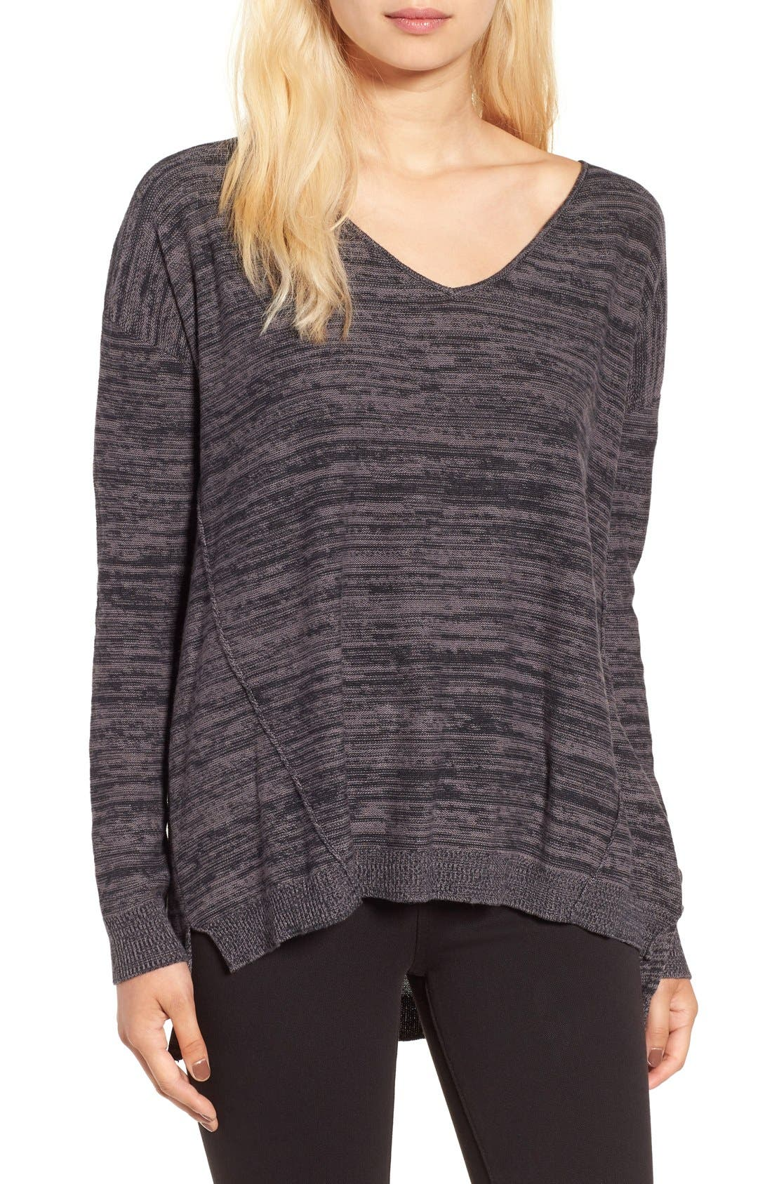 Marl V-Neck Pullover,                         Main,                         color, 001