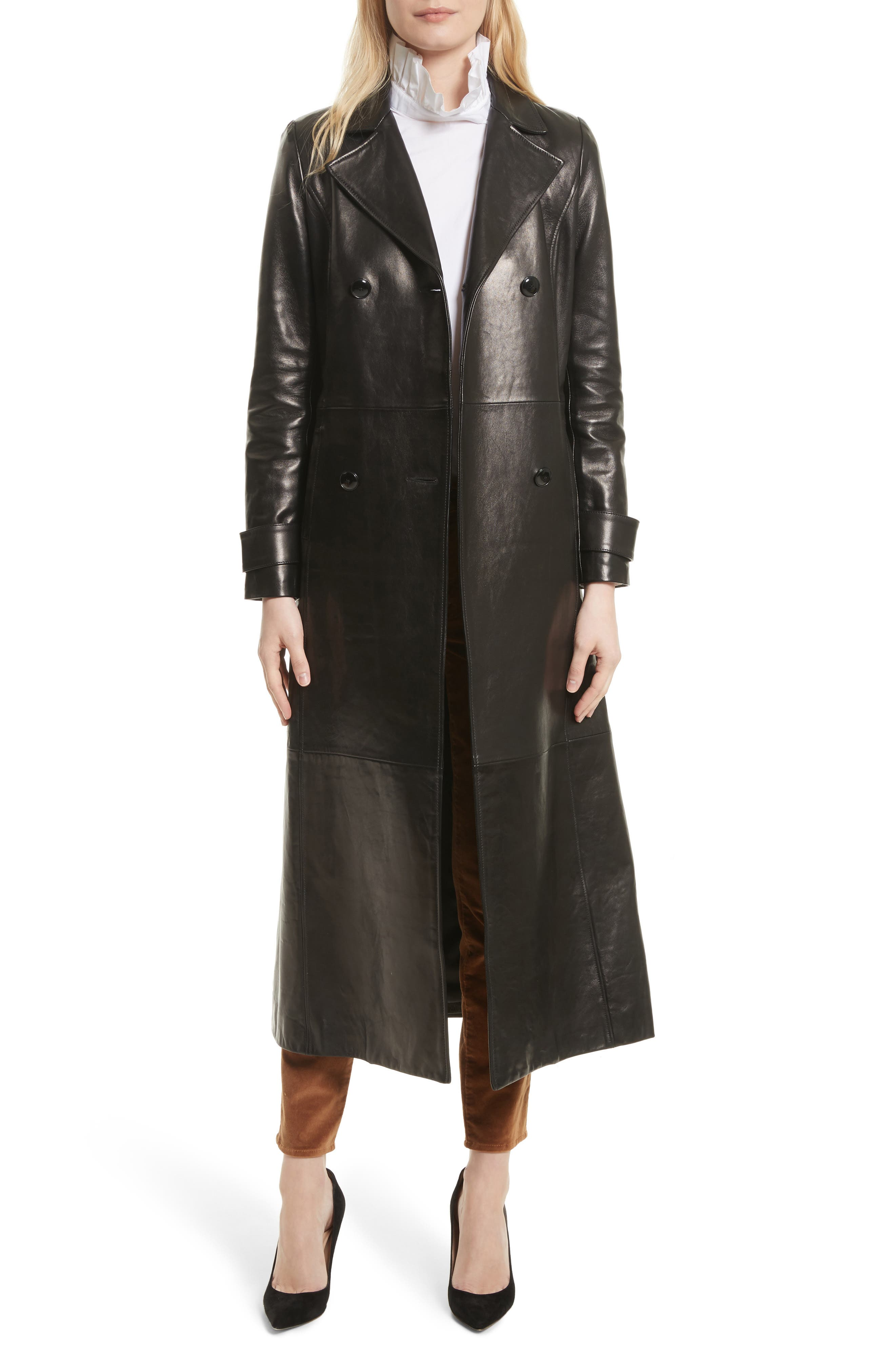 Leather Trench Coat,                             Alternate thumbnail 6, color,                             001