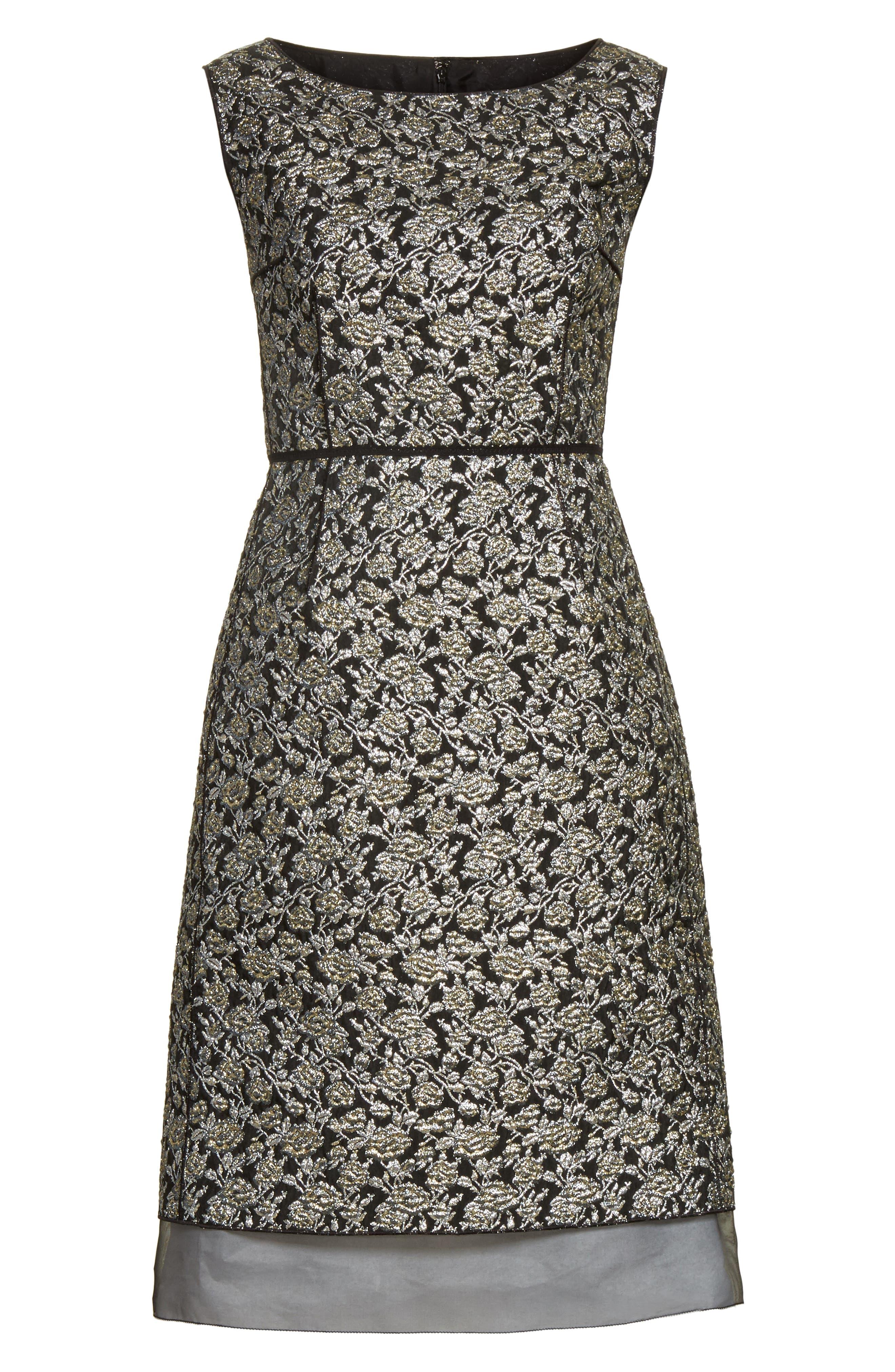 Metallic Jacquard Sheath Dress,                             Alternate thumbnail 6, color,