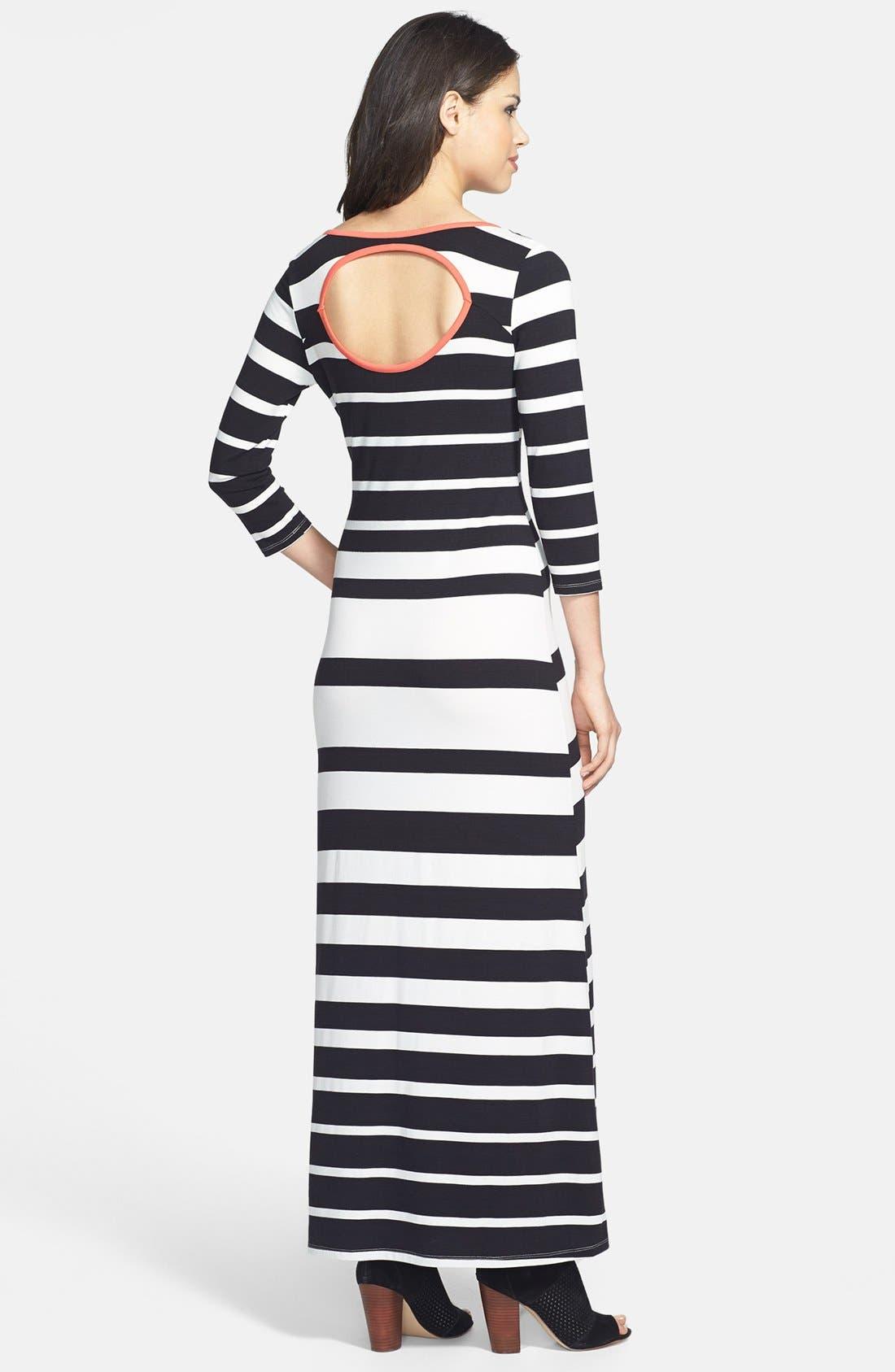 JESSICA SIMPSON,                             'Reah' Stripe Maxi Dress,                             Alternate thumbnail 3, color,                             001