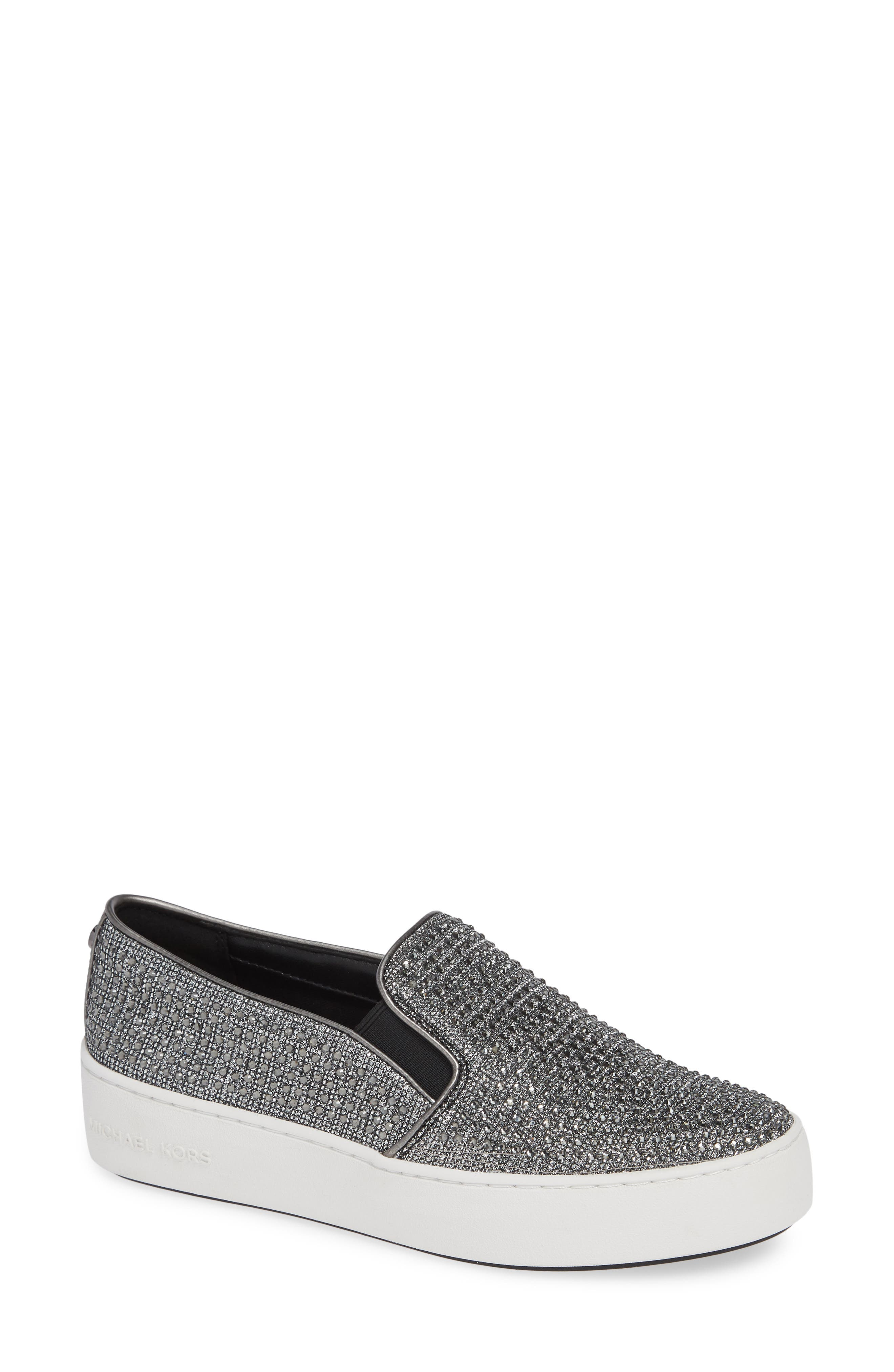 Trend Glitter Mesh Slip-On Sneakers in Black/ Silver