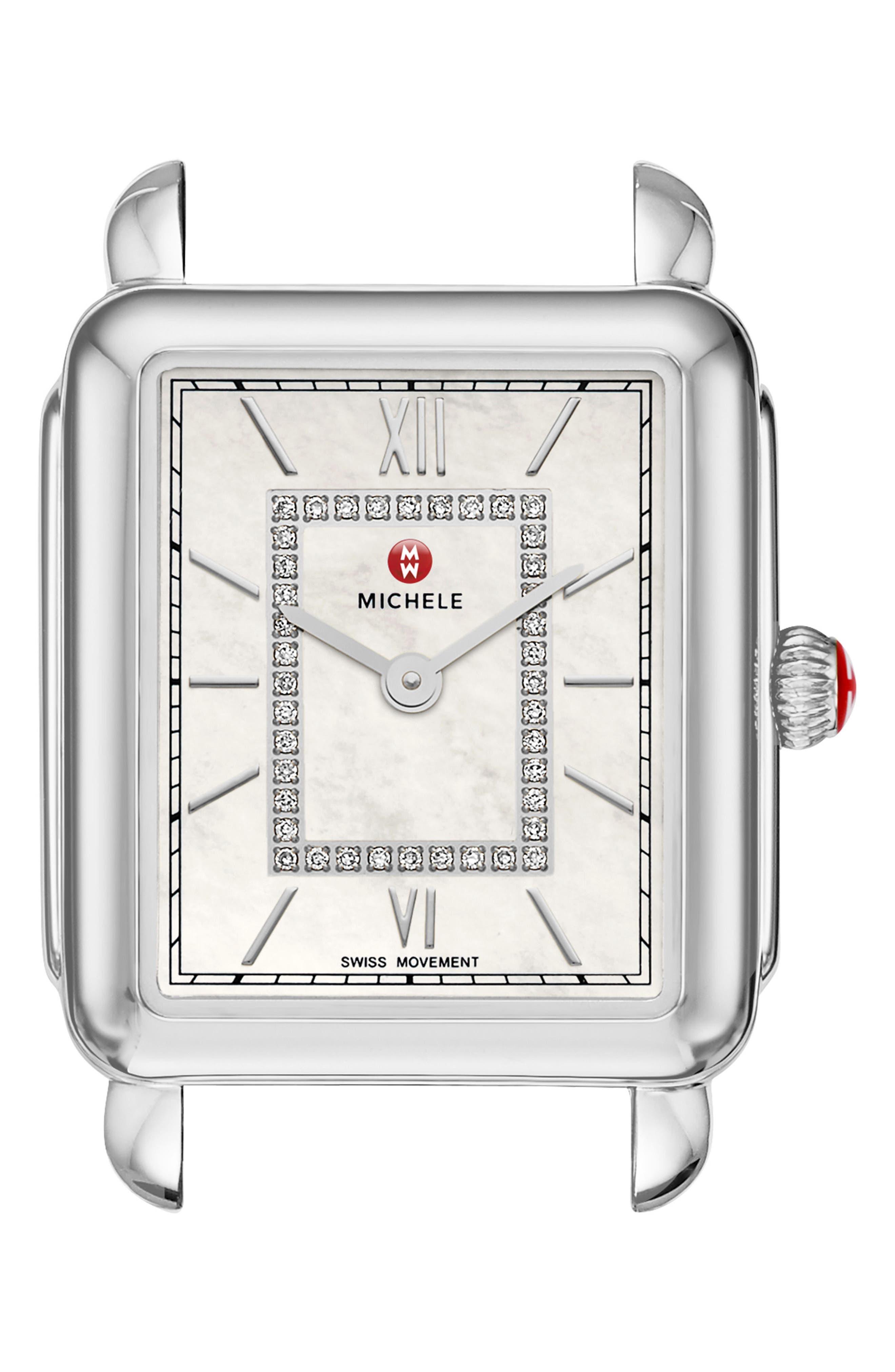 Deco II Mid Diamond Watch Head, 25mm x 30mm,                             Main thumbnail 1, color,                             SILVER/ MOP/ SILVER