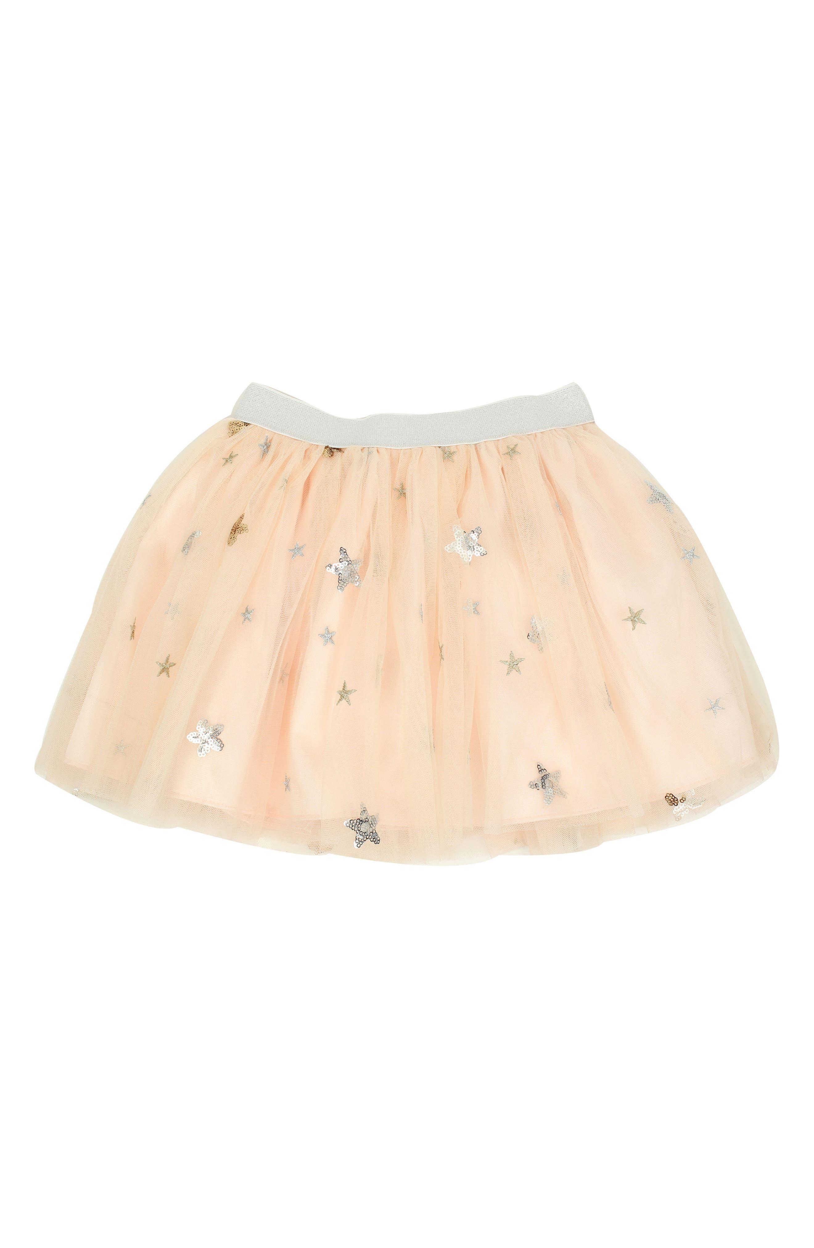 Metallic Stars Tulle Skirt,                         Main,                         color, PEACH