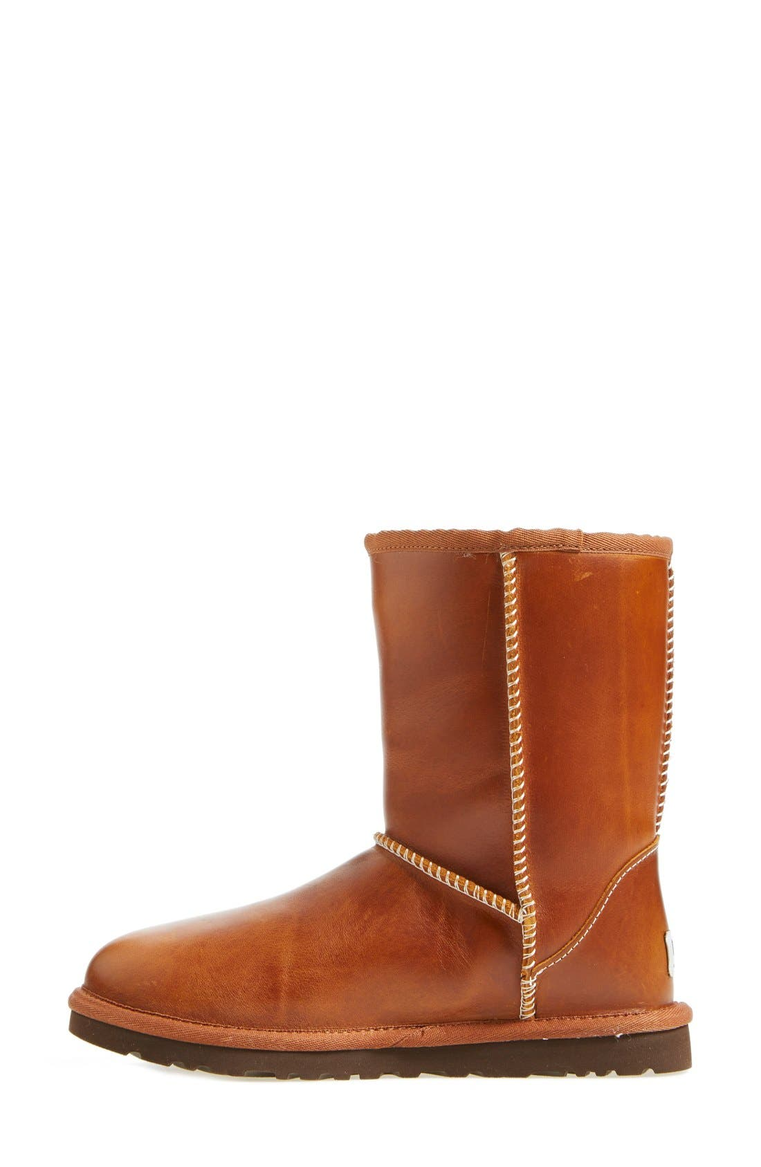 UGG<SUP>®</SUP>,                             Australia 'Classic Short' Leather Water Resistant Boot,                             Alternate thumbnail 4, color,                             219