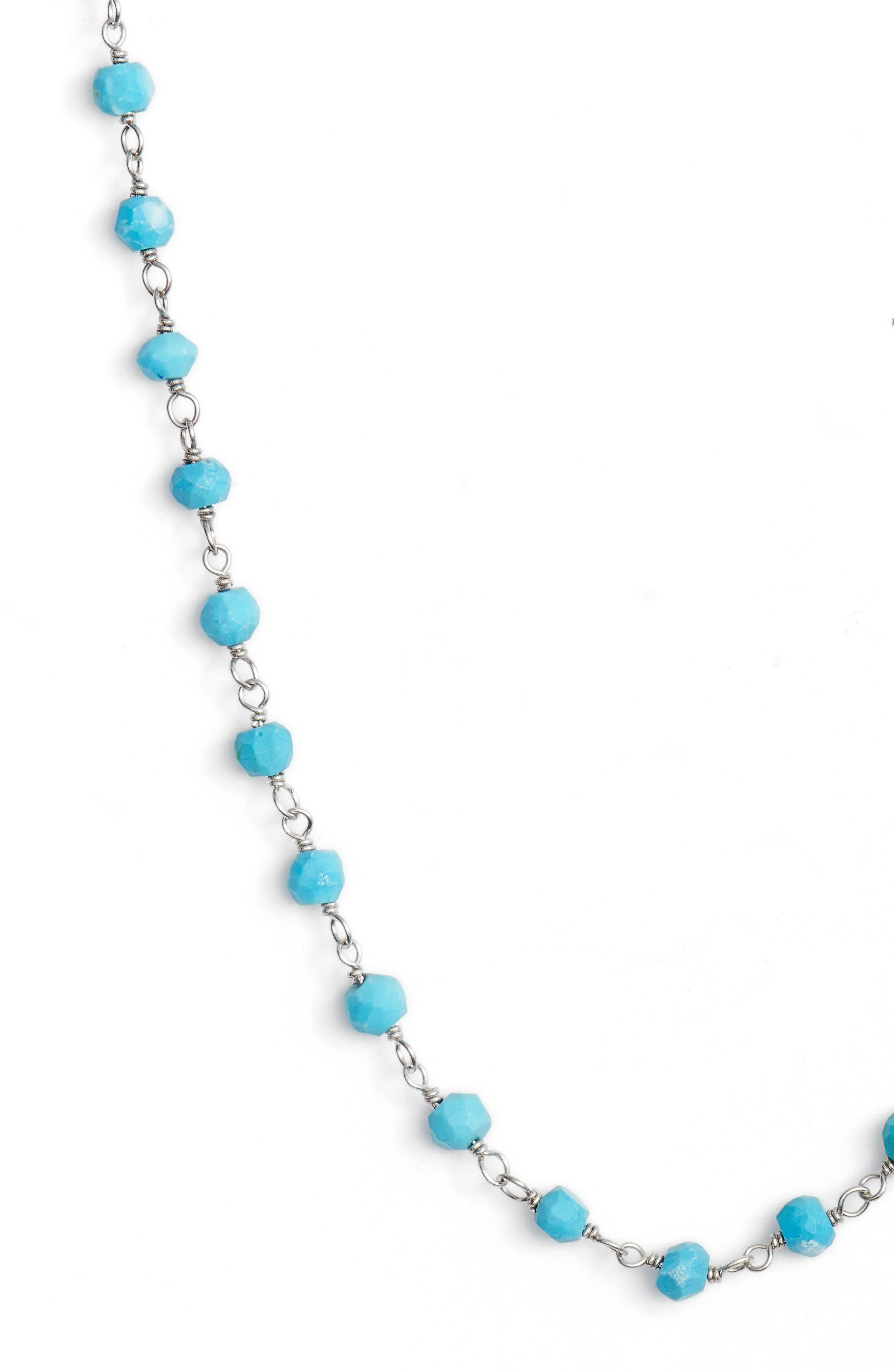 Beaded Wrap Necklace,                             Alternate thumbnail 3, color,                             SILVER/ TURQUOISE