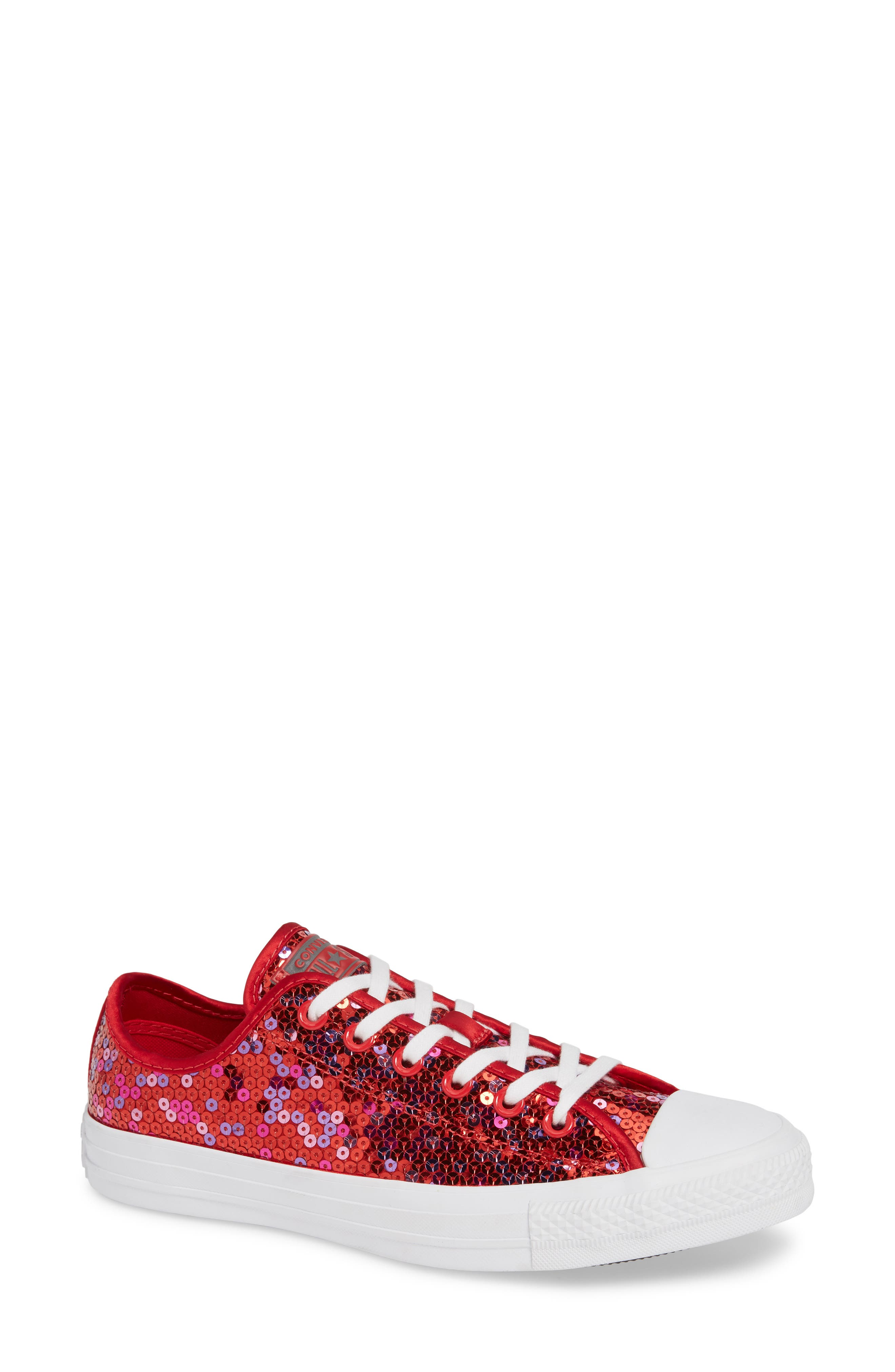 Chuck Taylor<sup>®</sup> All Star<sup>®</sup> Sequin Low Top Sneaker,                         Main,                         color, RED CHERRY SEQUINS