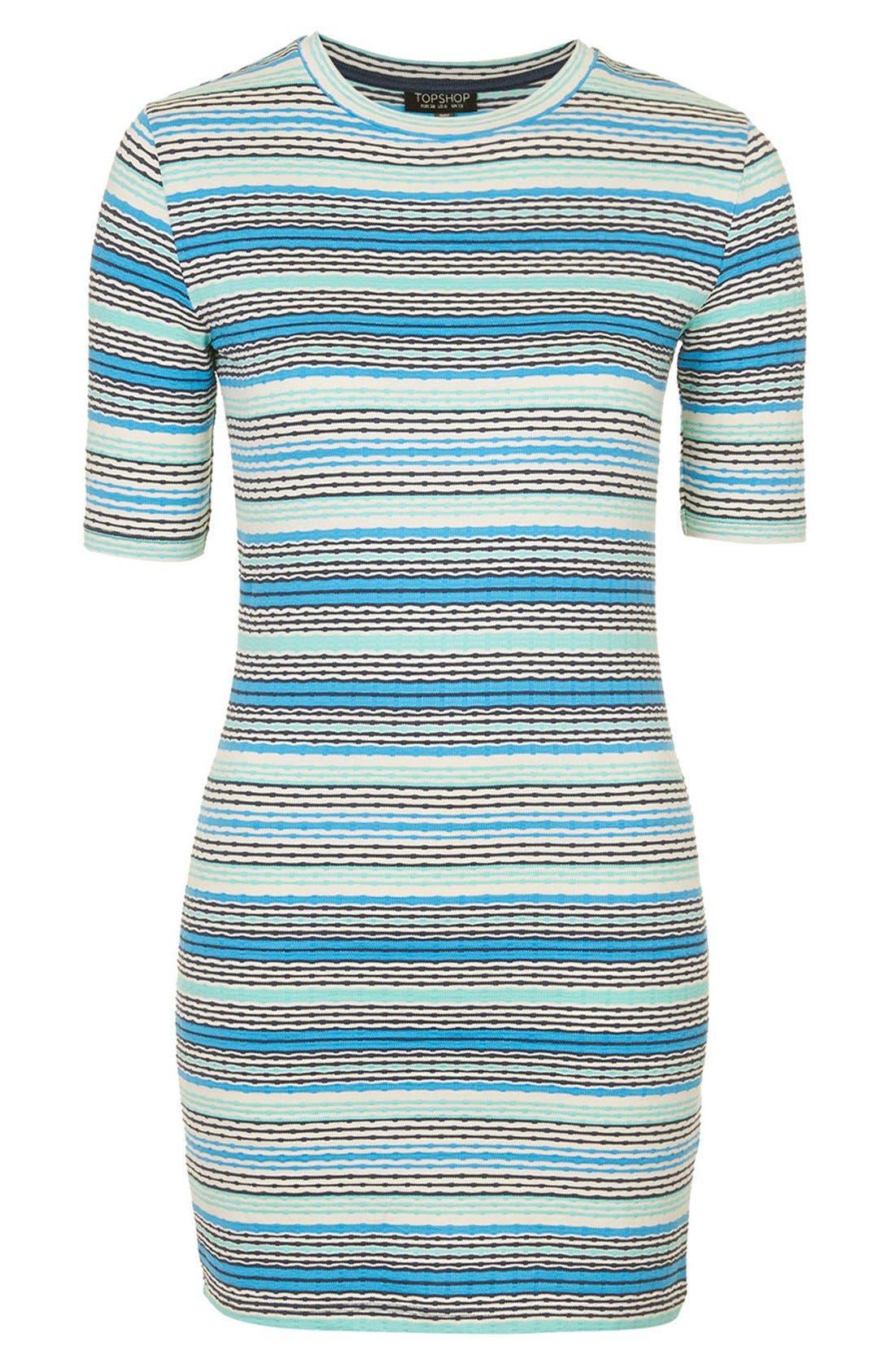 TOPSHOP,                             Jacquard Tunic Dress,                             Alternate thumbnail 4, color,                             400