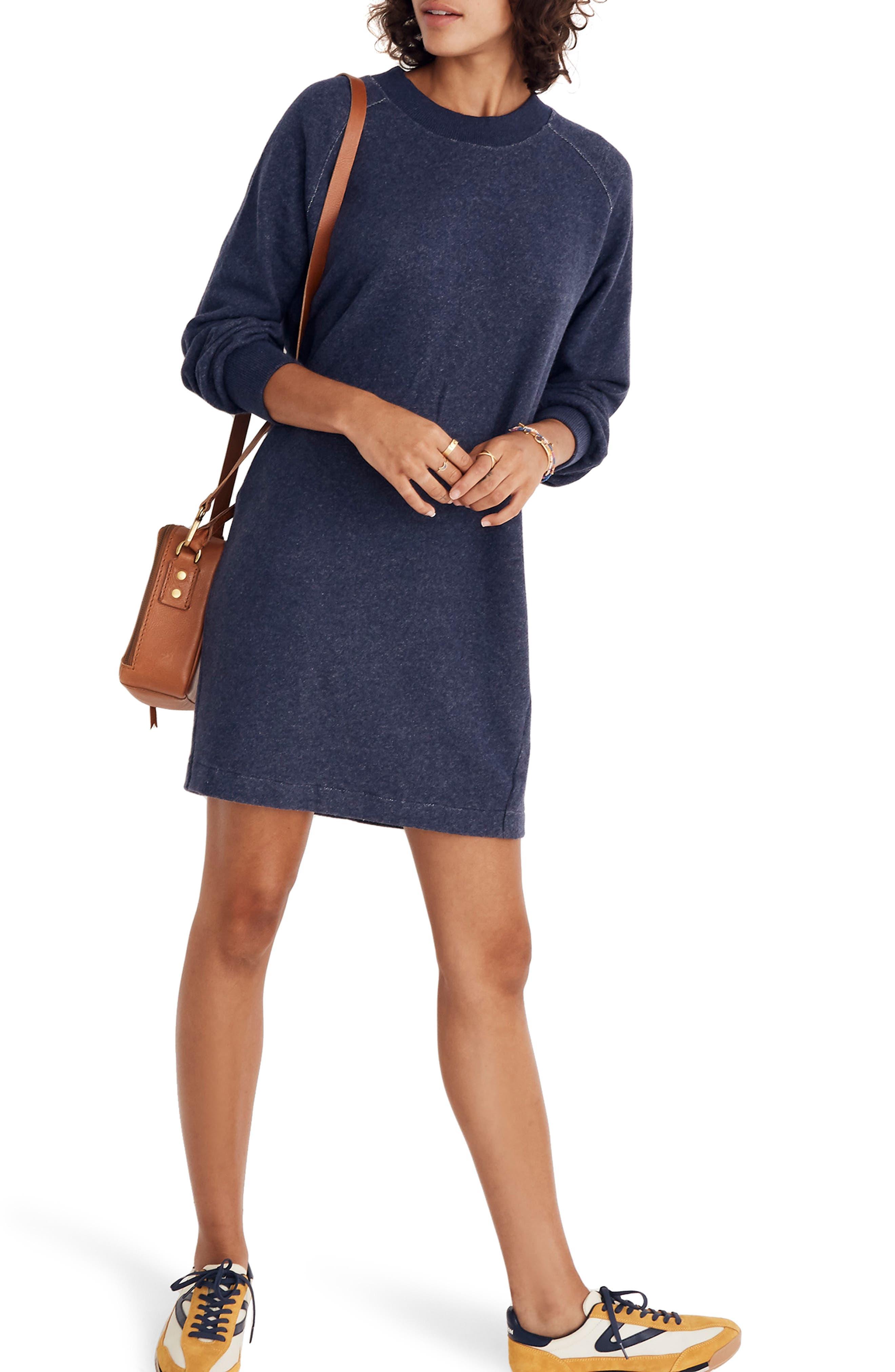 Bubble Sleeve Sweatshirt Dress,                         Main,                         color, 400