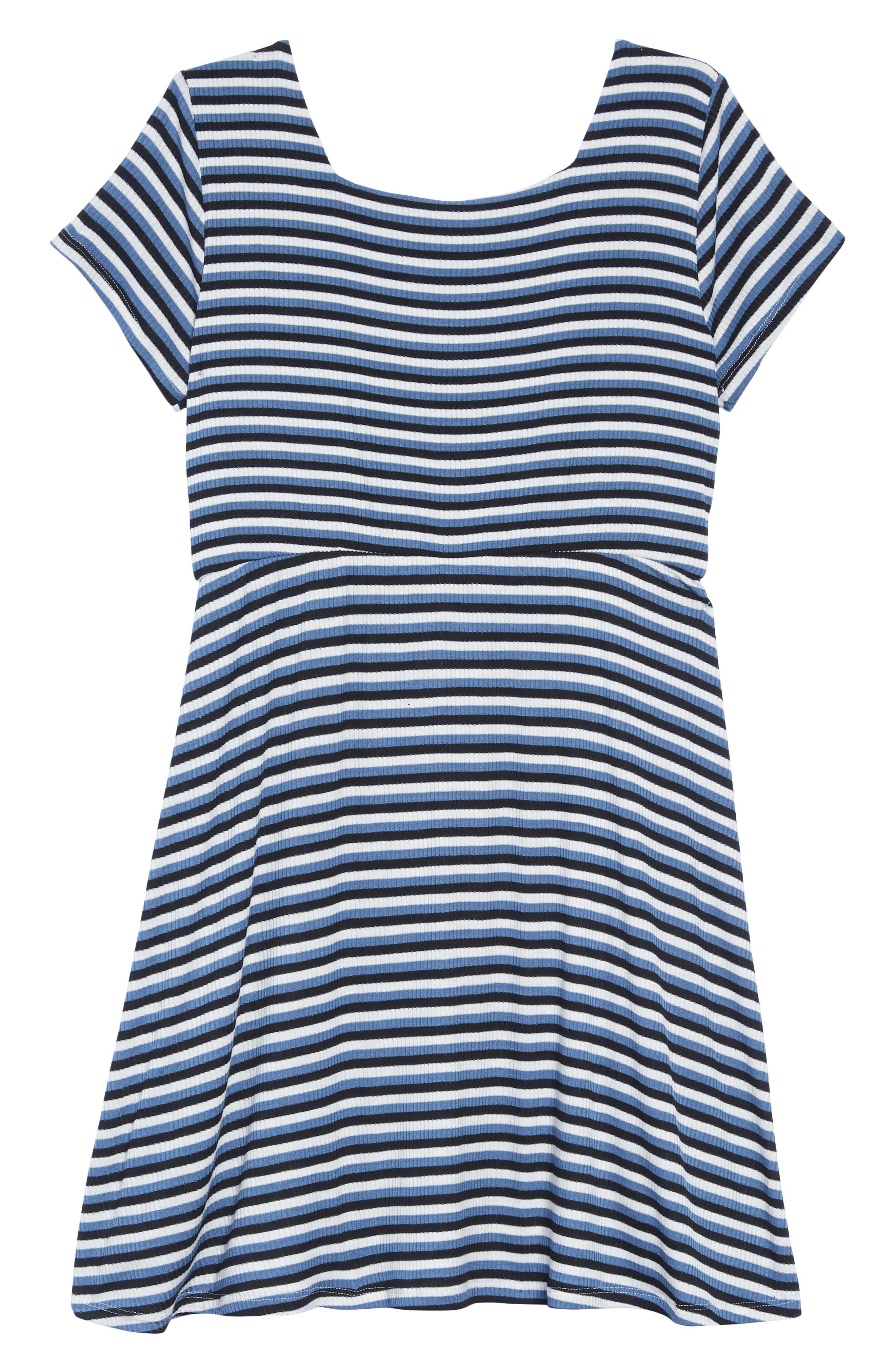 Square Neck A-Line Dress,                             Alternate thumbnail 2, color,                             NAVY