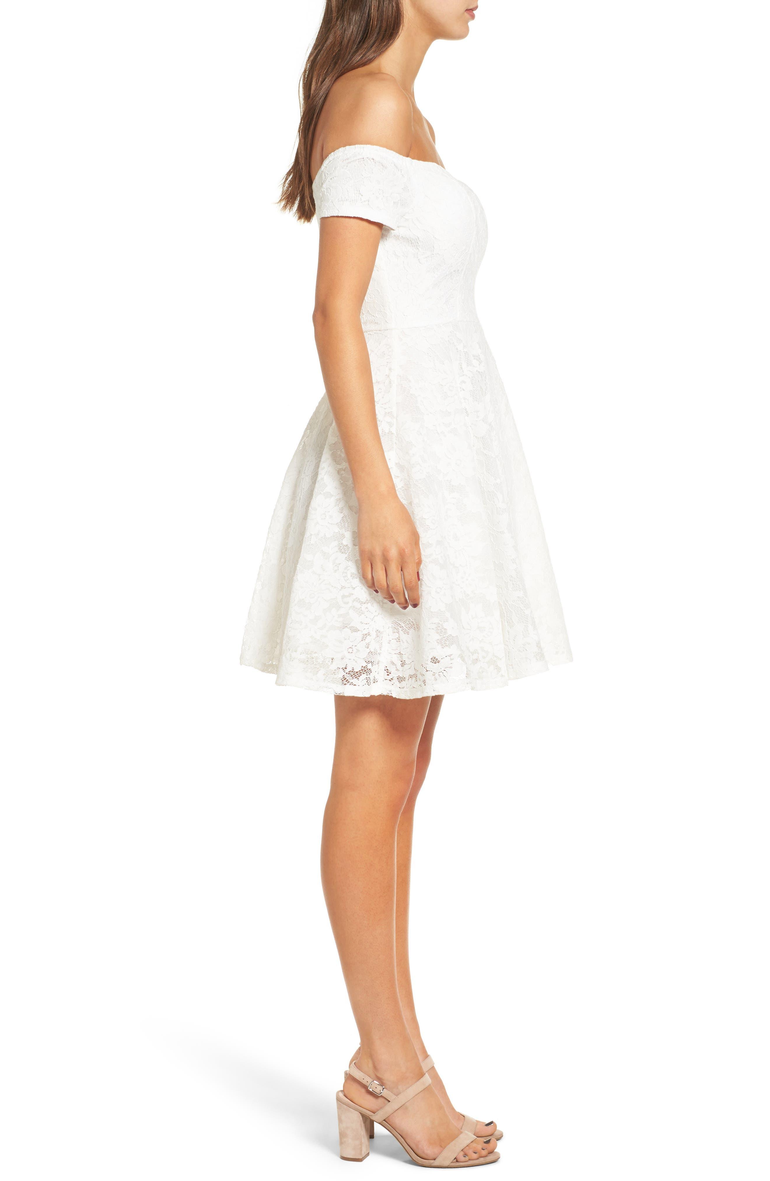 Lace Off the Shoulder Fit & Flare Dress,                             Alternate thumbnail 21, color,