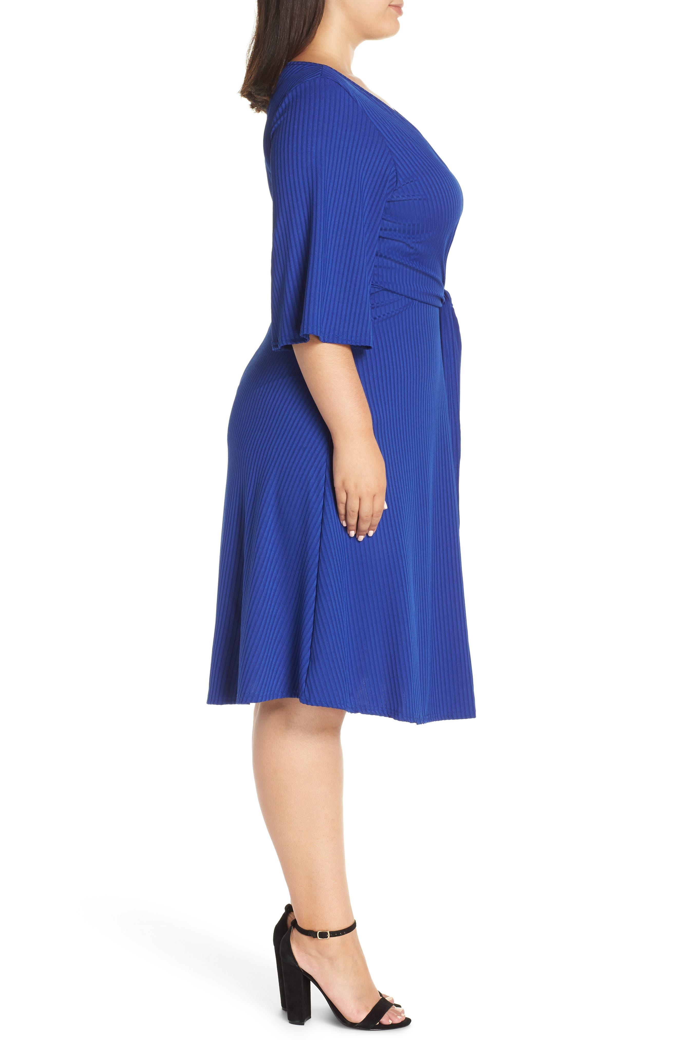 Ribbed Knit Skater Dress,                             Alternate thumbnail 3, color,                             BLUE