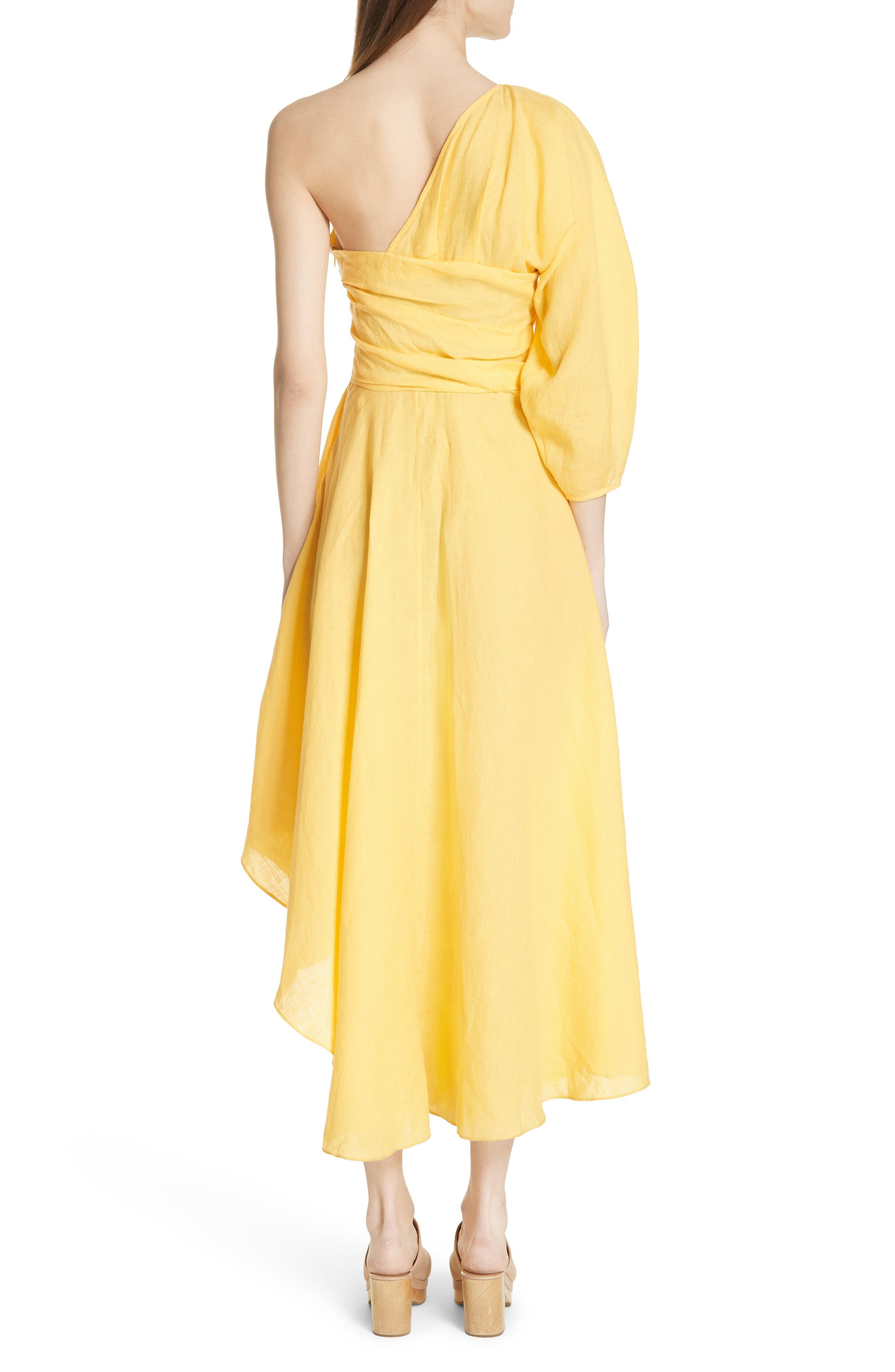 Tipple One-Shoulder Dress,                             Alternate thumbnail 2, color,                             YELLOW