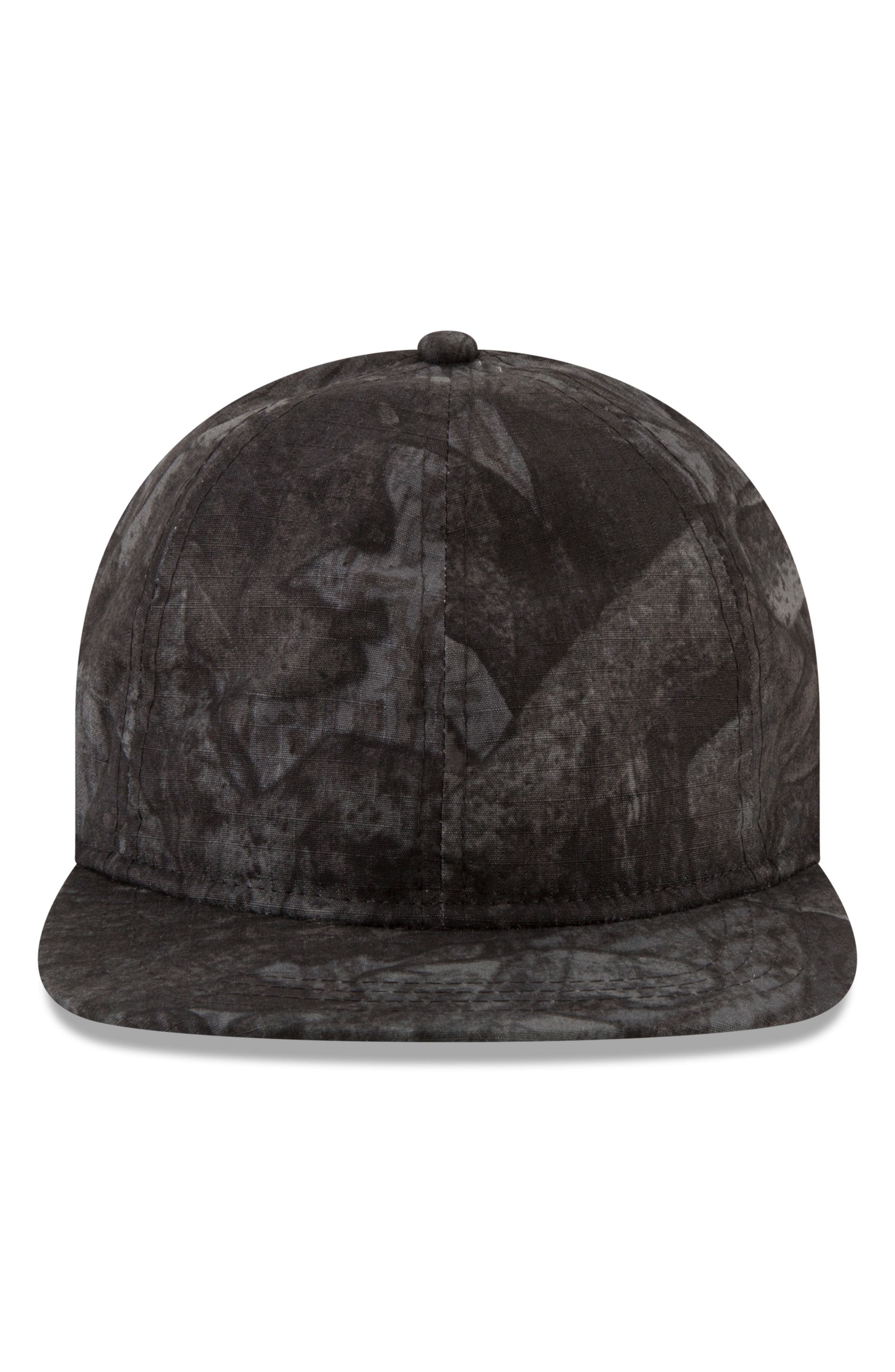 9Twenty Tonal Camo Flat Brim Hat,                             Main thumbnail 1, color,                             BLACK