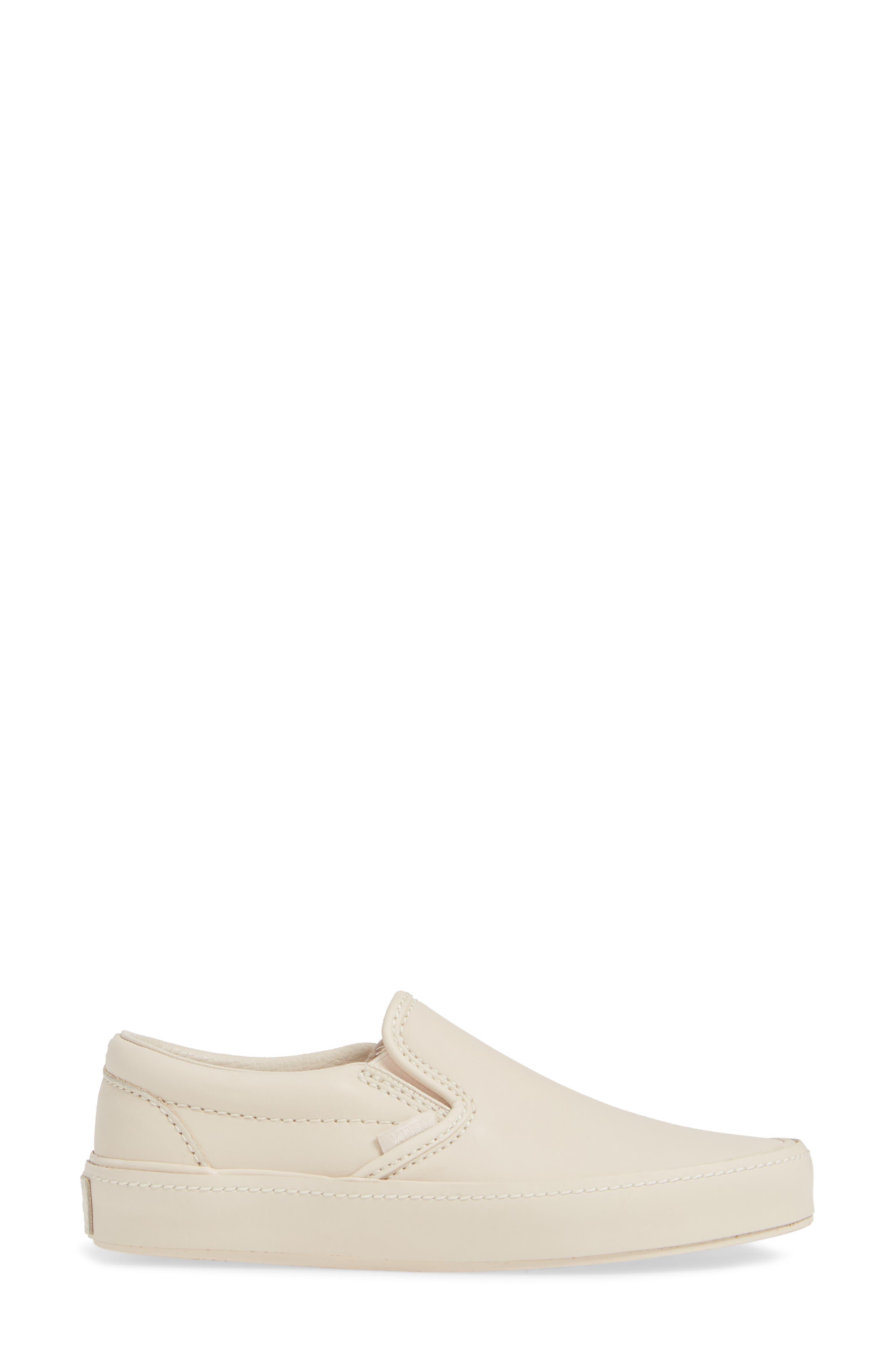 VANS,                             Classic Leather Slip-On Sneaker,                             Alternate thumbnail 3, color,                             270